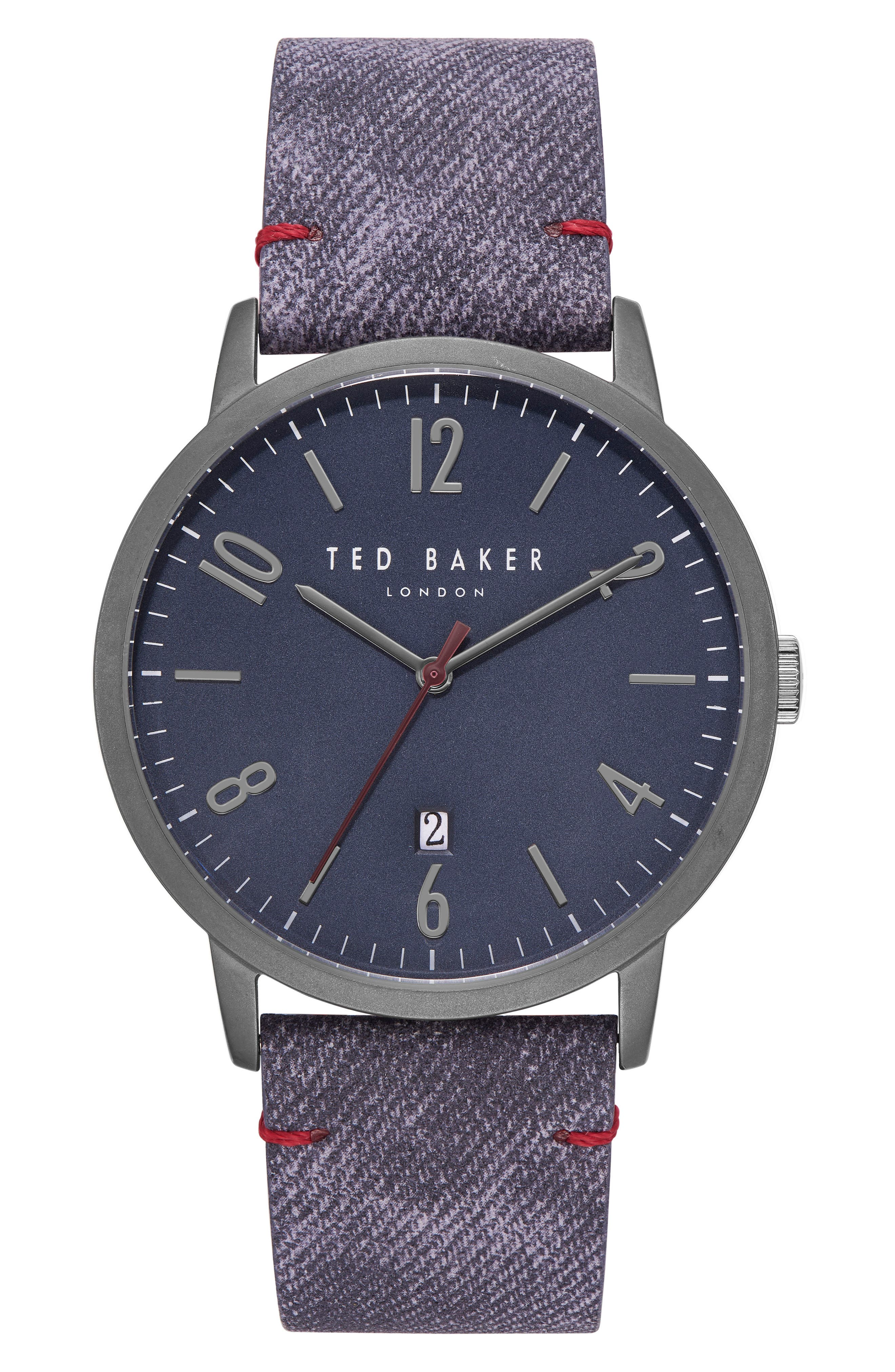 Daniel Synthetic Strap Watch, 42mm,                         Main,                         color, Dark Blue/ Blue