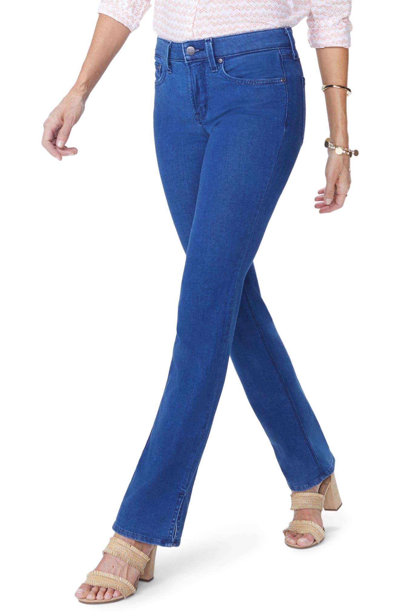Billie Side Slit Mini Bootcut Jeans,                             Main thumbnail 1, color,                             Spectre