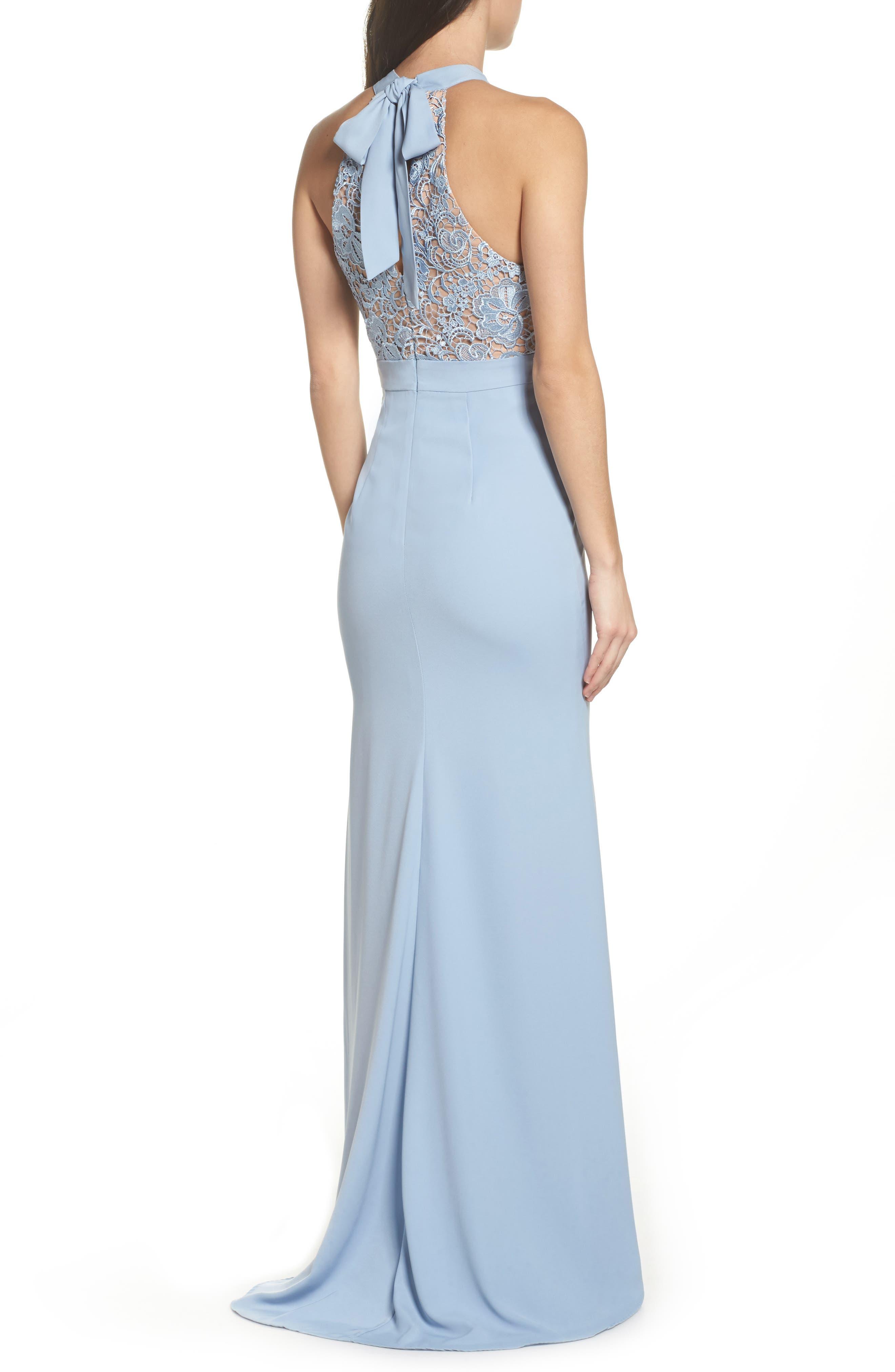 Caden Lace Detail Trumpet Gown,                             Alternate thumbnail 2, color,                             Light Blue