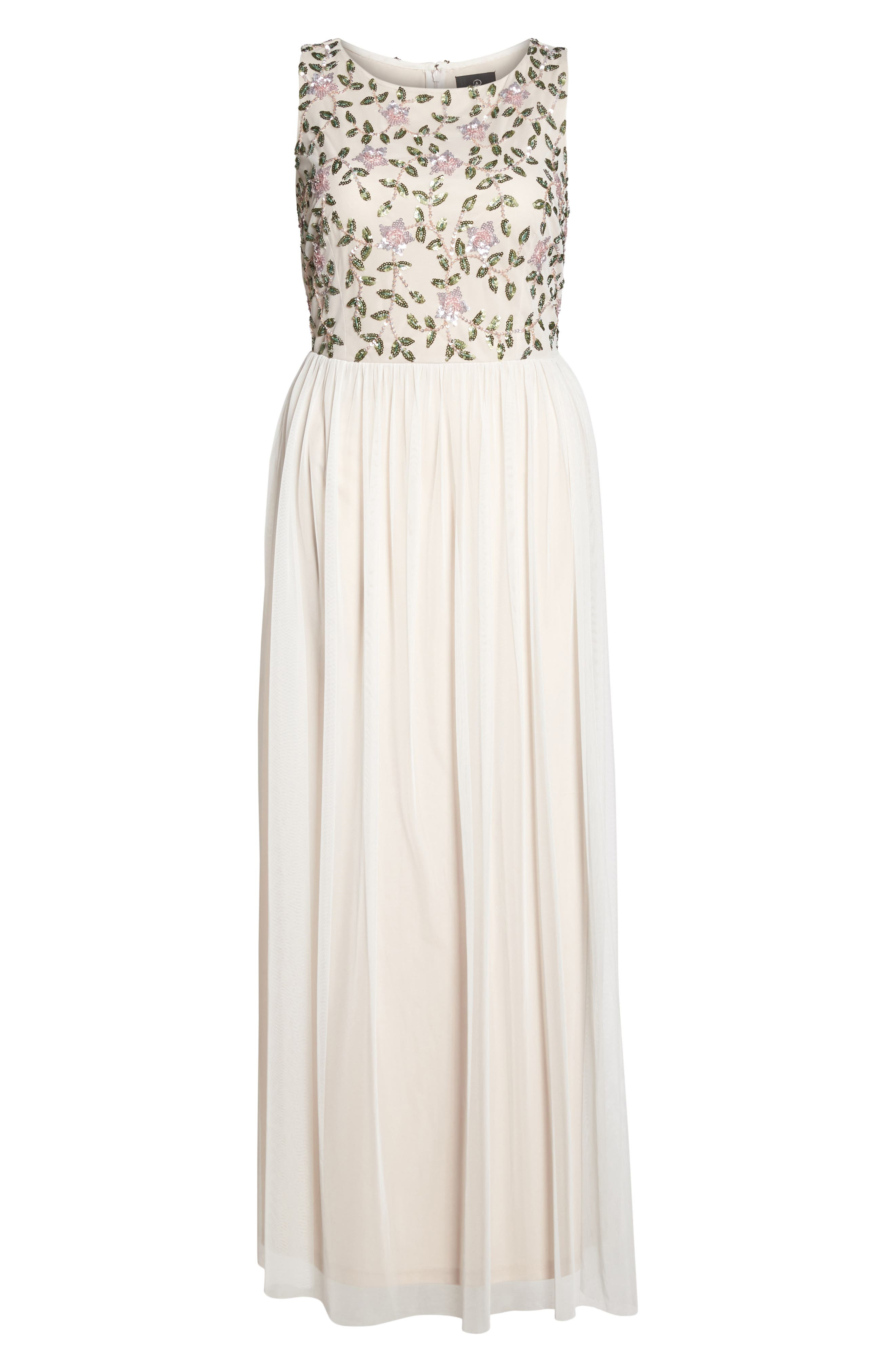 Floral Sequin Bodice Gown,                             Alternate thumbnail 6, color,                             Ivory Multi
