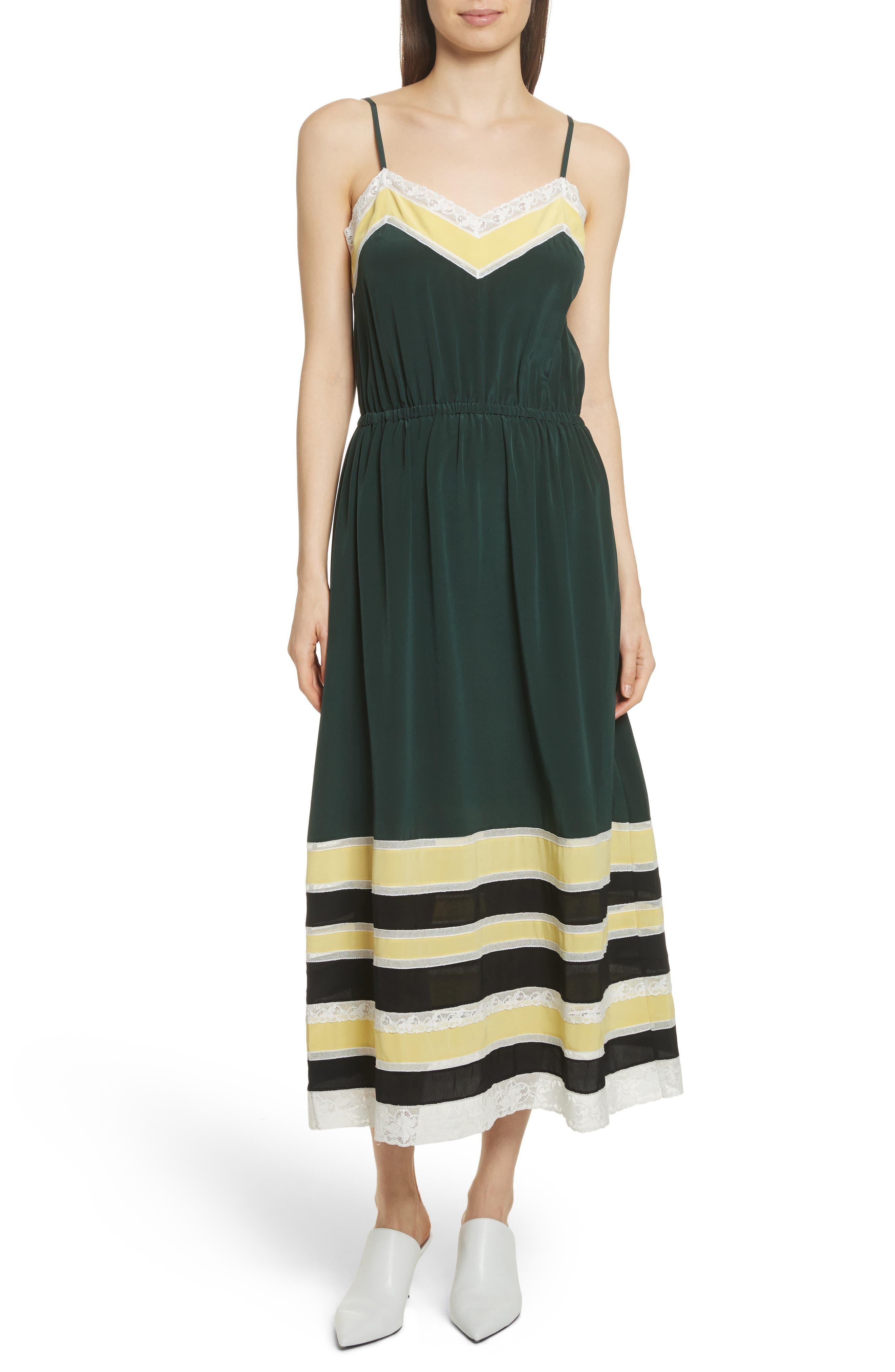 Lace Trim Silk Slipdress,                             Main thumbnail 1, color,                             Green Combo