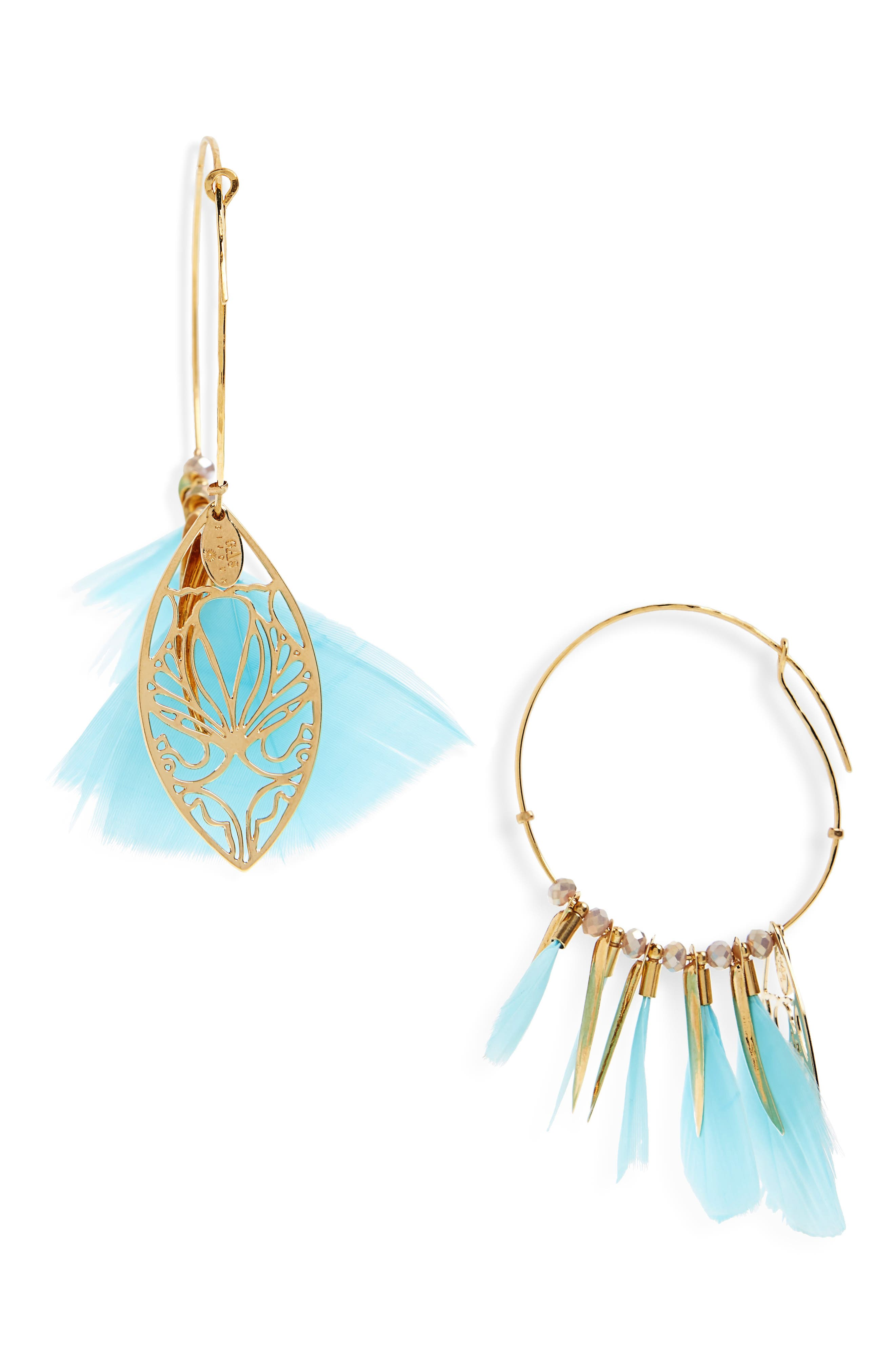 Marly Feather Drop Earrings,                             Alternate thumbnail 3, color,                             Green Turquoise