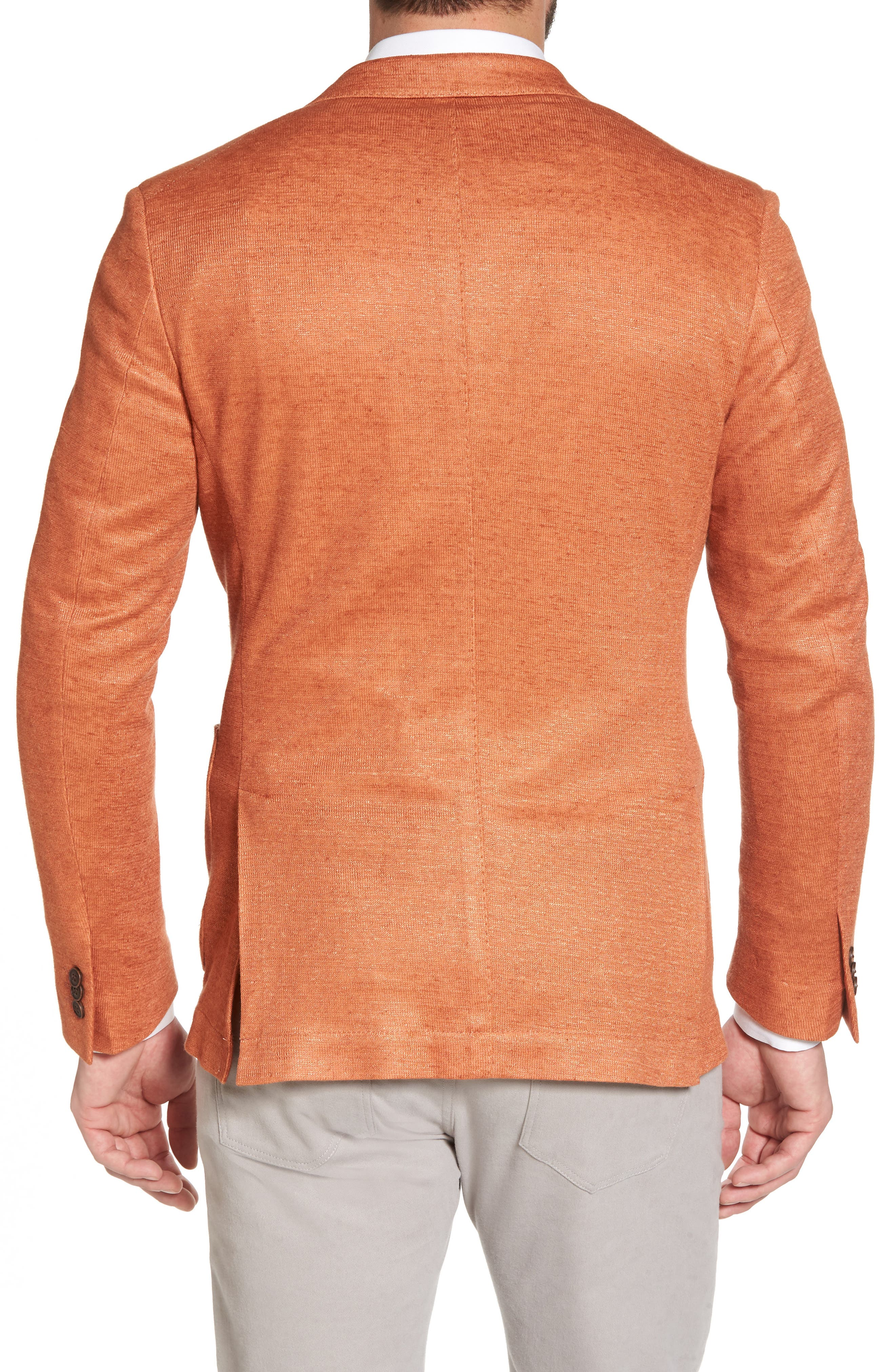 Trim Fit Heathered Jersey Blazer,                             Alternate thumbnail 2, color,                             Orange
