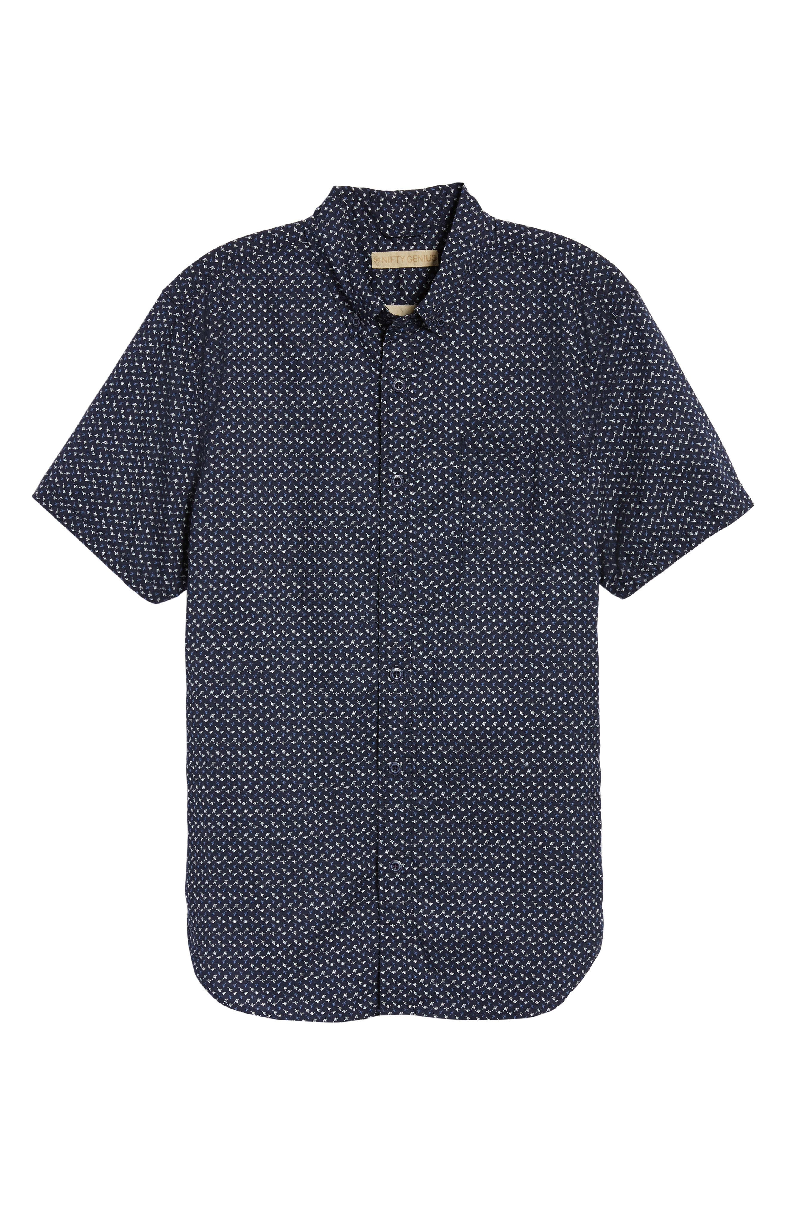 Truman Slim Fit Short Sleeve Sport Shirt,                             Alternate thumbnail 6, color,                             Navy
