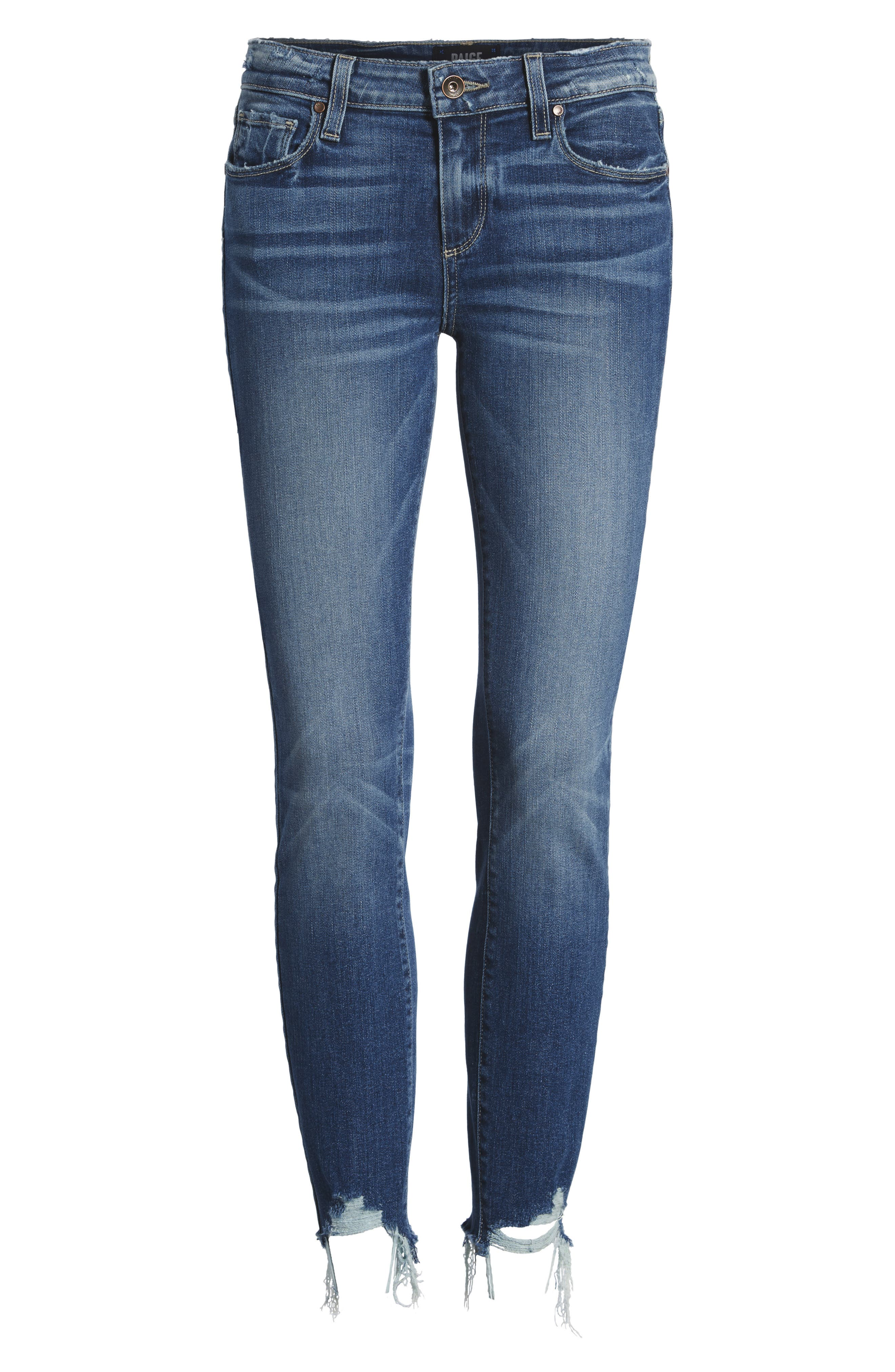 Transcend Vintage - Verdugo Ankle Skinny Jeans,                             Alternate thumbnail 6, color,                             Malibu Super Distressed