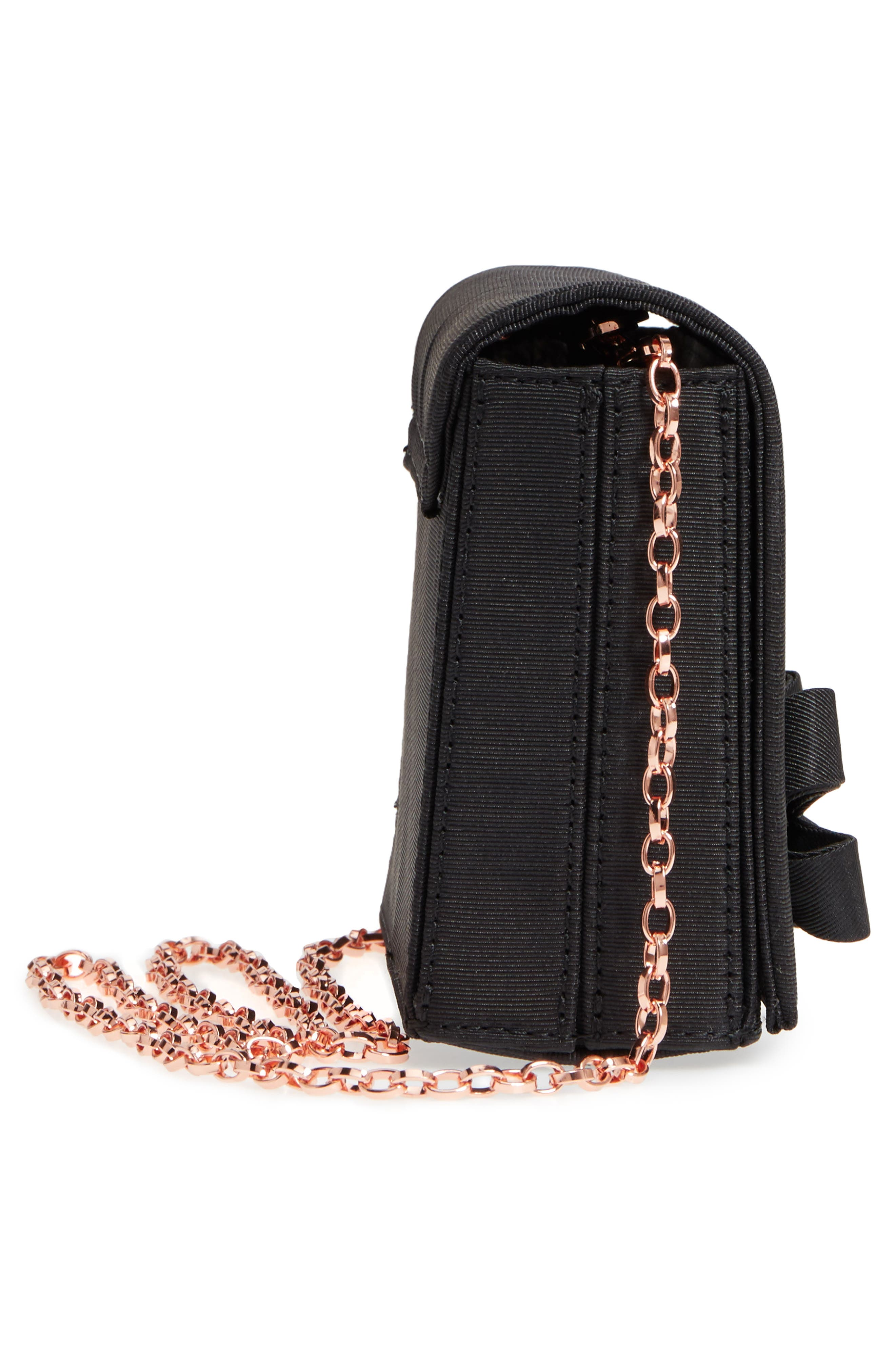 Looped Bow Clutch,                             Alternate thumbnail 5, color,                             Black