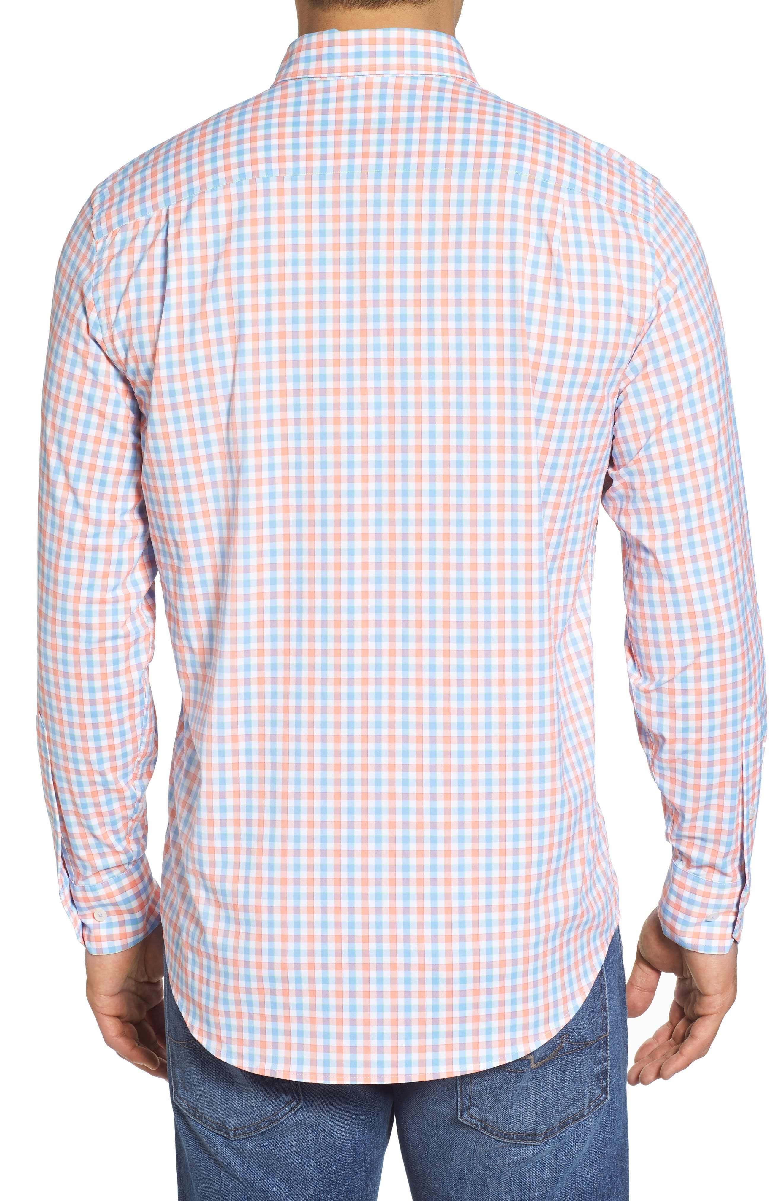 Market Square Regular Fit Stretch Check Sport Shirt,                             Alternate thumbnail 2, color,                             Nectar Coral