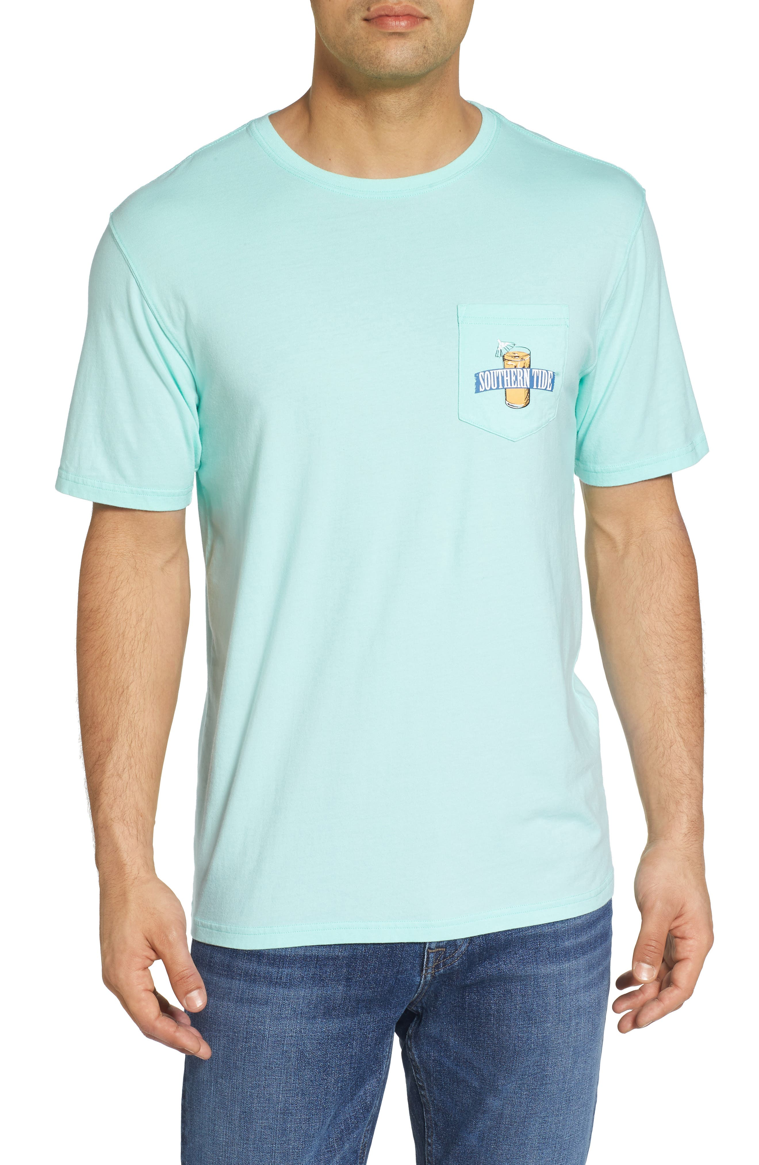 Southern Mix Crewneck T-Shirt,                         Main,                         color, Off Shore Green