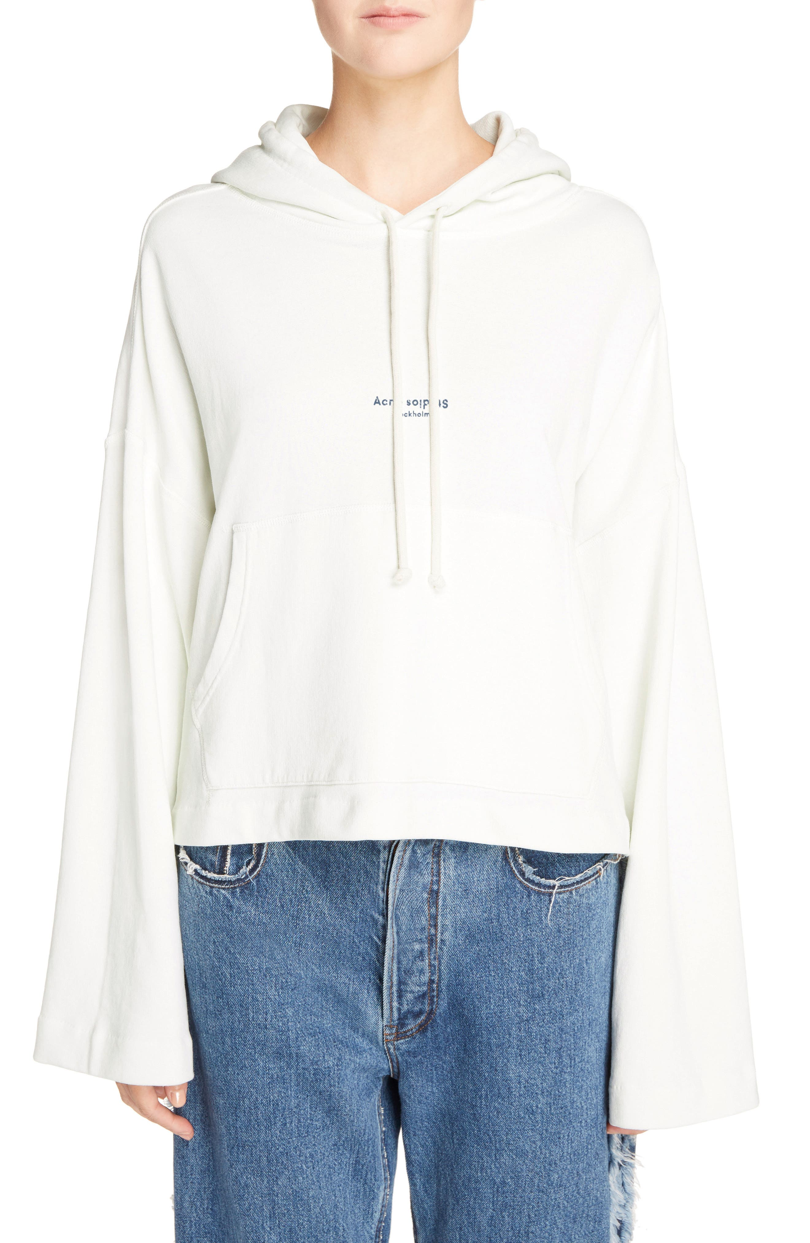 Joggy Crop Hoodie,                         Main,                         color, Ice White