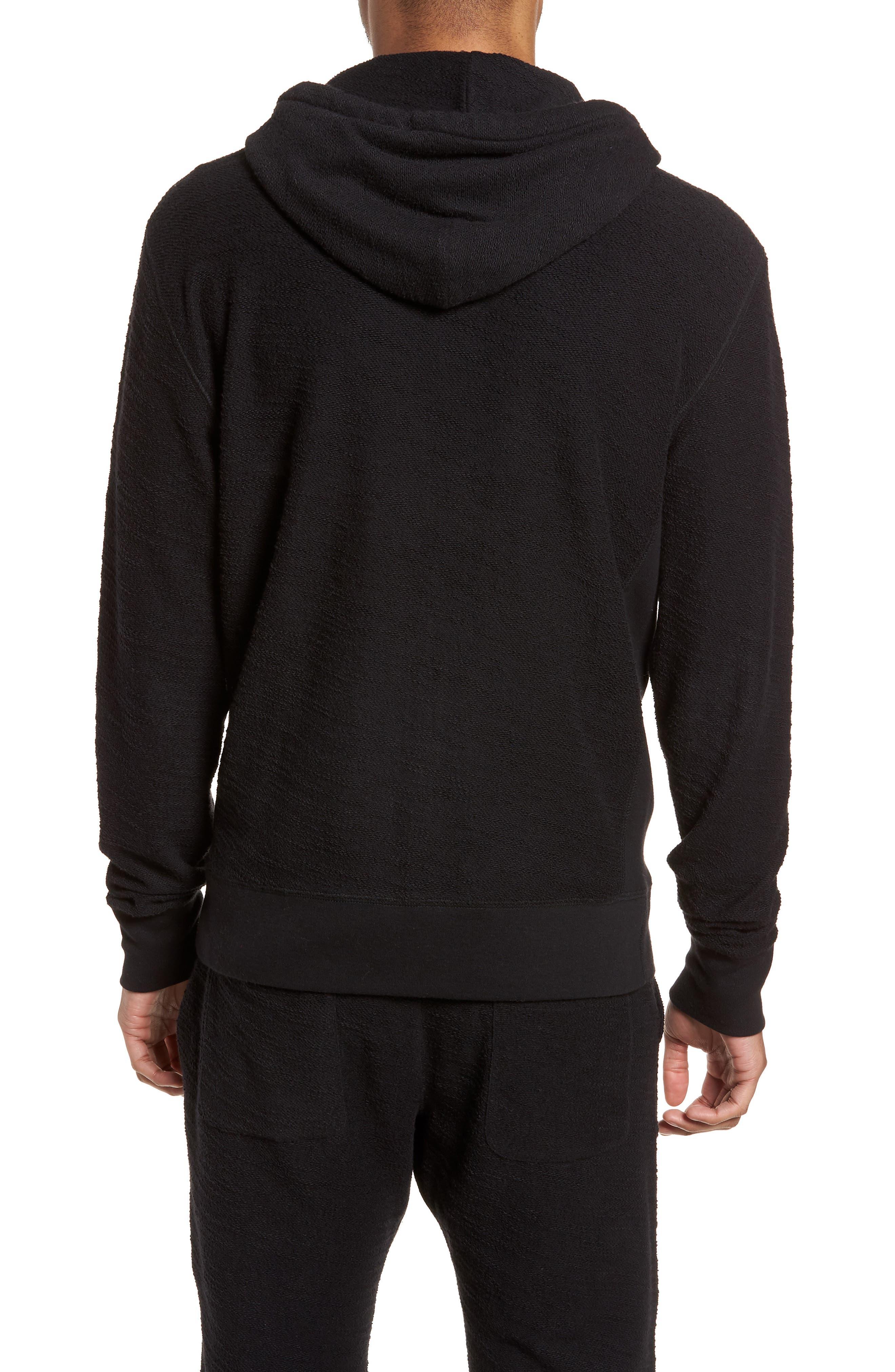 Terrycloth Cotton Blend Zip Hoodie,                             Alternate thumbnail 2, color,                             Black