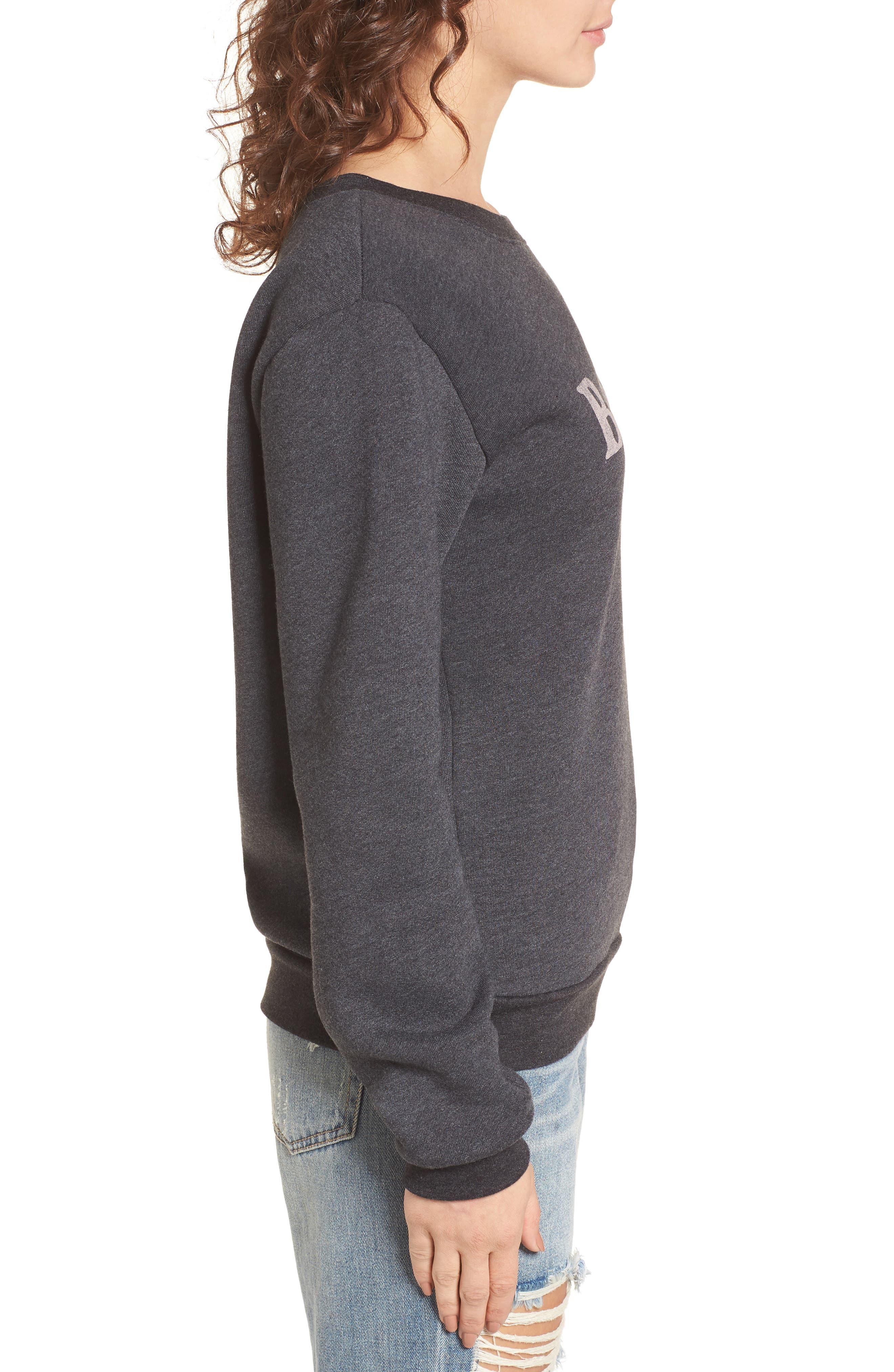 Bonjour Sweatshirt,                             Alternate thumbnail 3, color,                             Faded Black