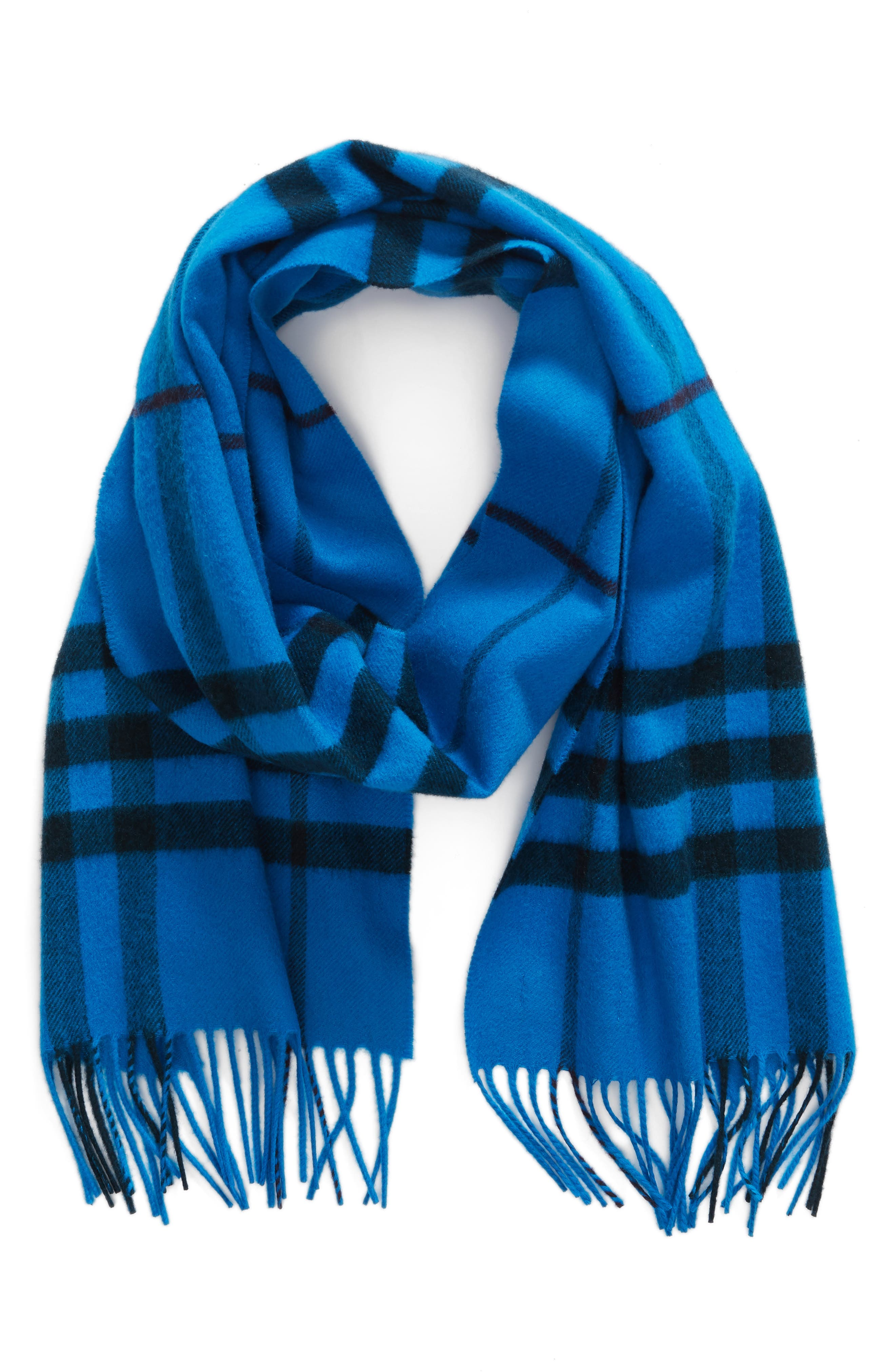 Overdyed Giant Check Cashmere Scarf,                             Main thumbnail 1, color,                             Bright Blue