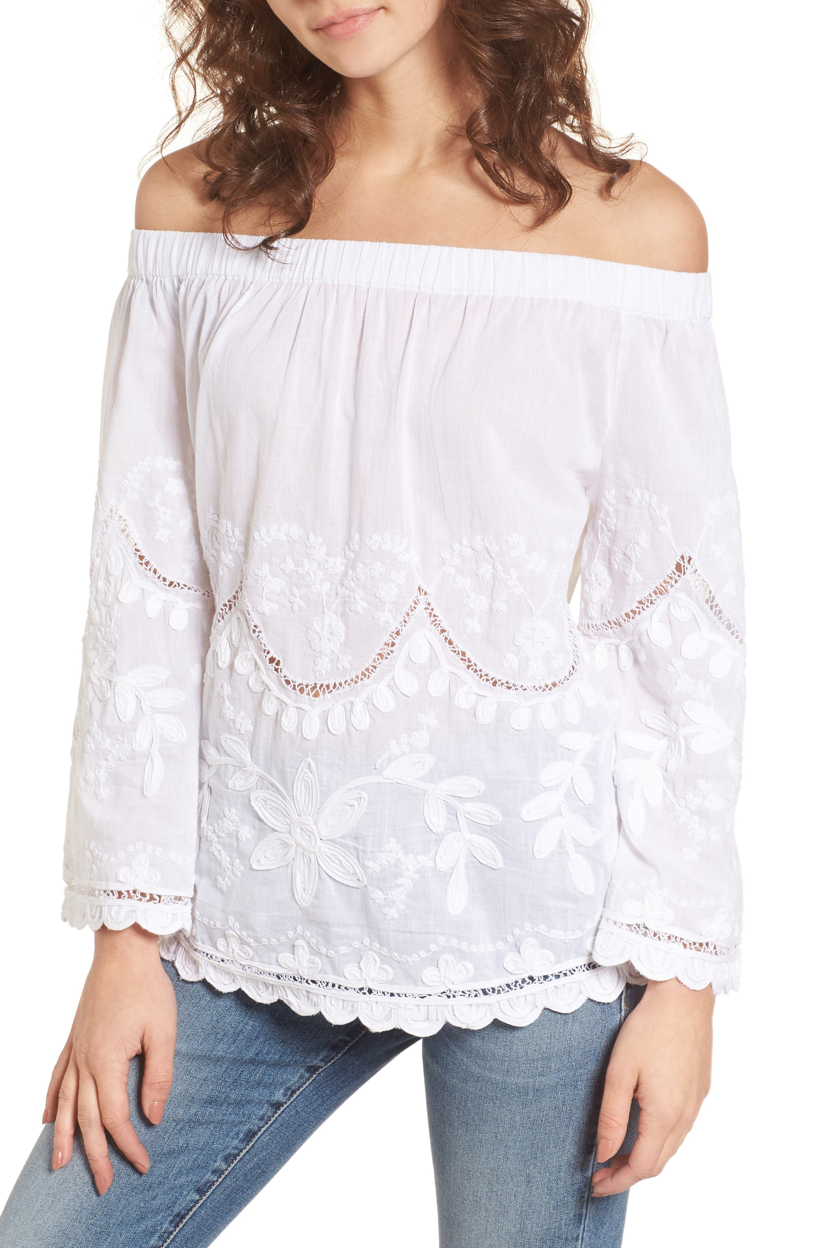 BLANKNYC Embroidered Off the Shoulder Top