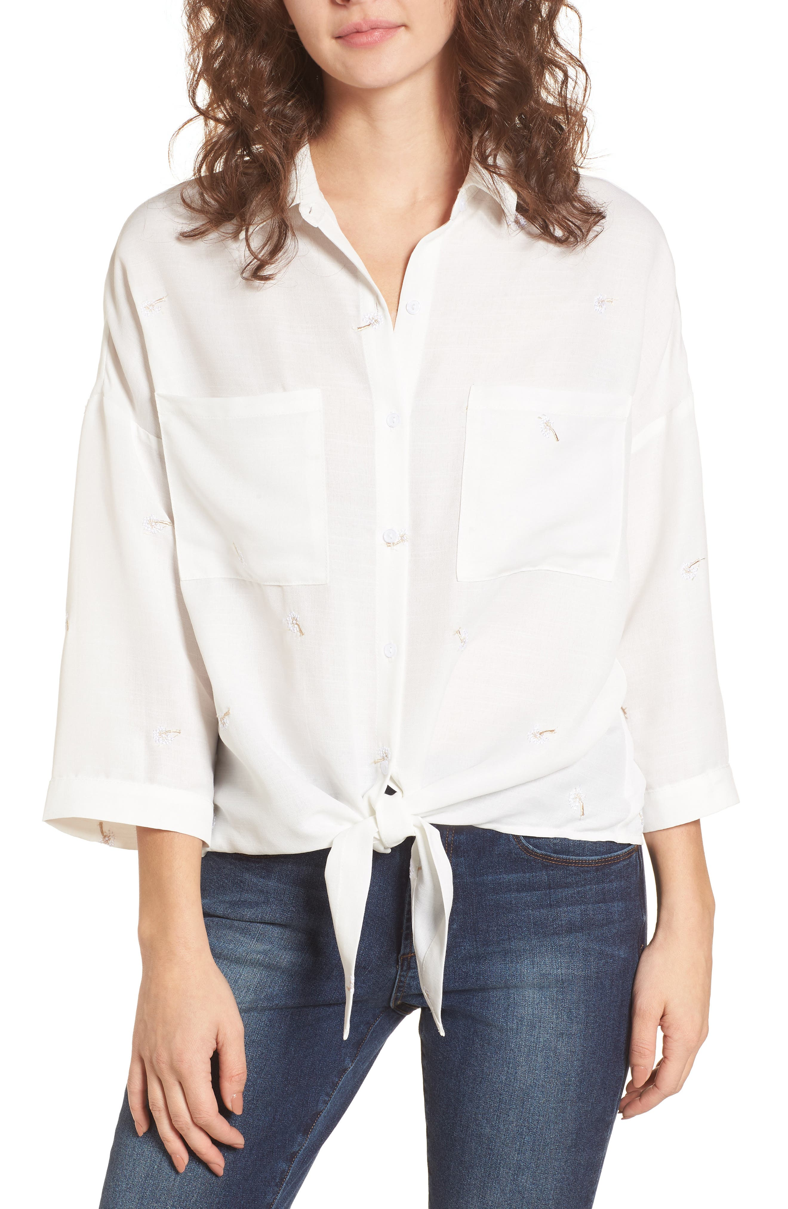 Embroidered Knot Front Shirt