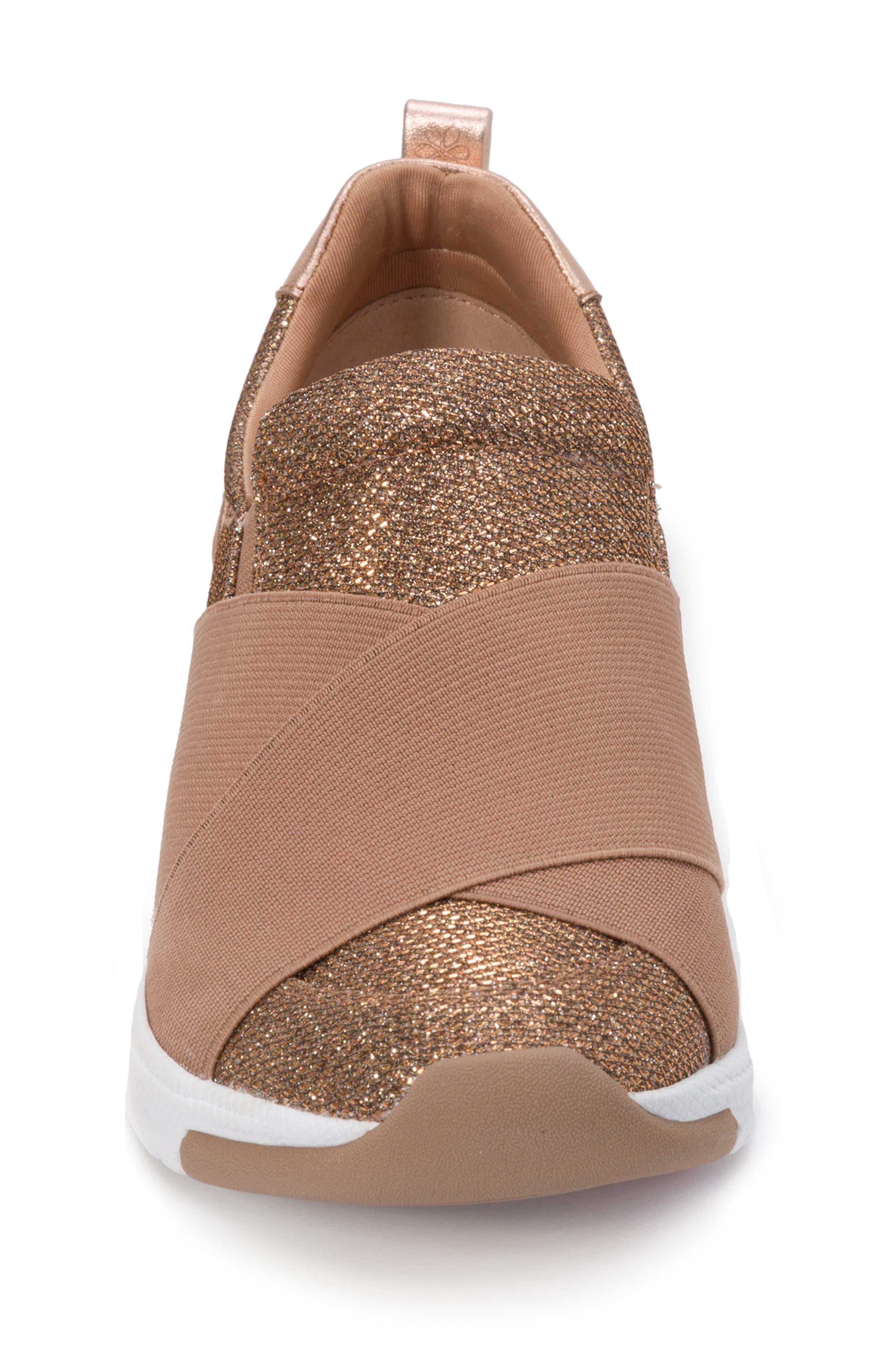 Slip-On Sneaker,                             Alternate thumbnail 4, color,                             Rose Gold Leather