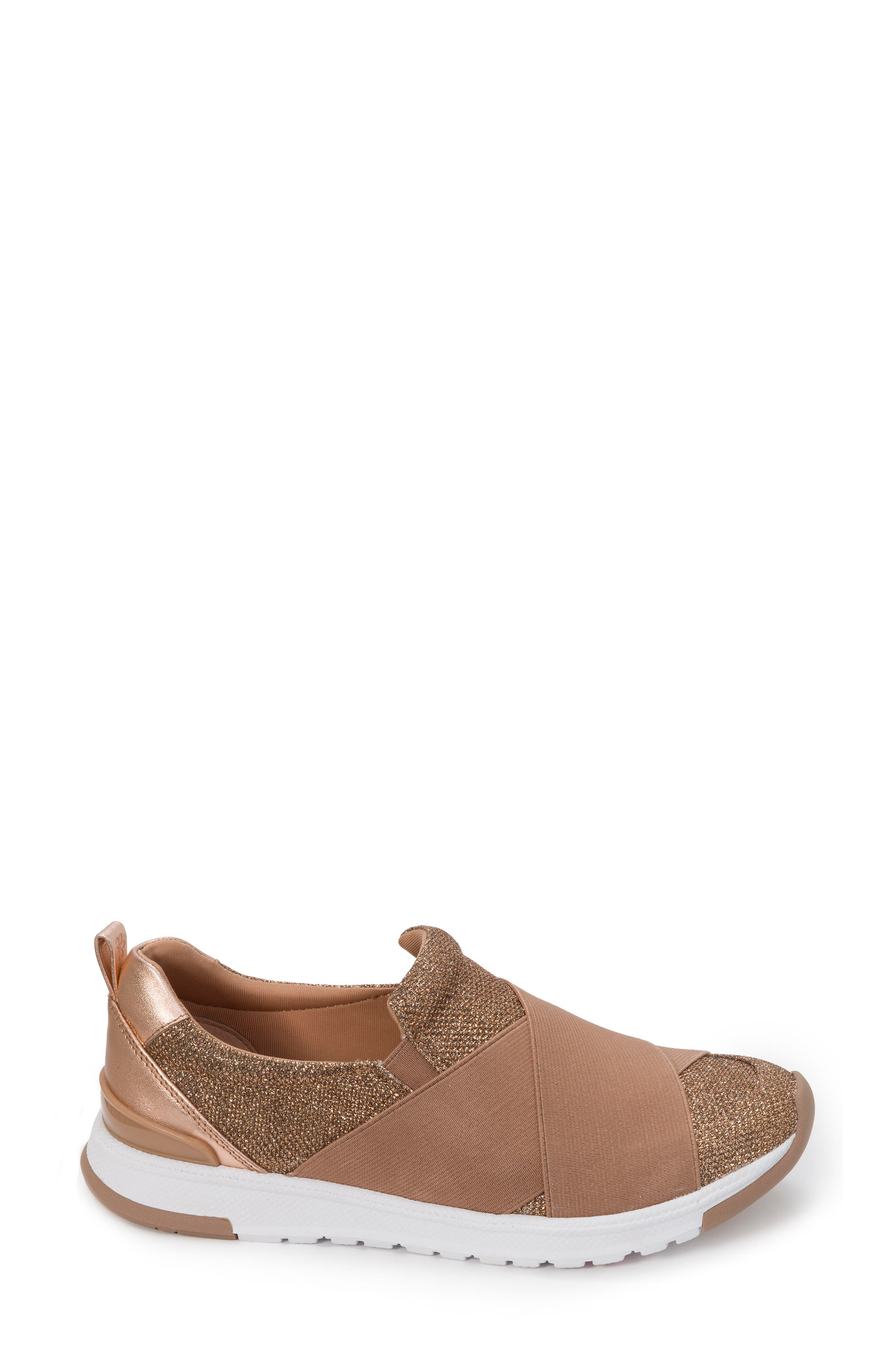 Slip-On Sneaker,                             Alternate thumbnail 3, color,                             Rose Gold Leather