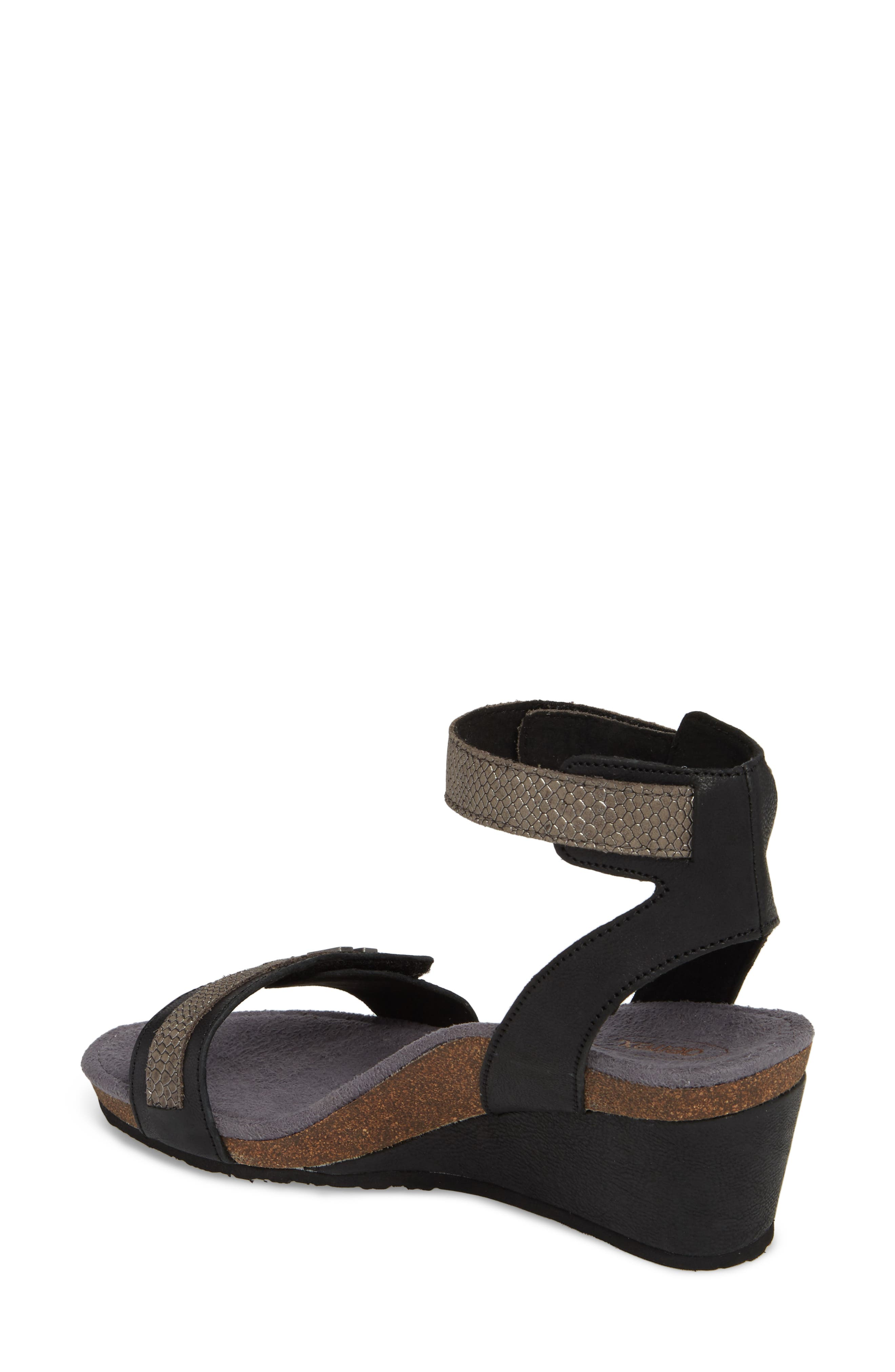 Gia Wedge Sandal,                             Alternate thumbnail 2, color,                             Black Leather