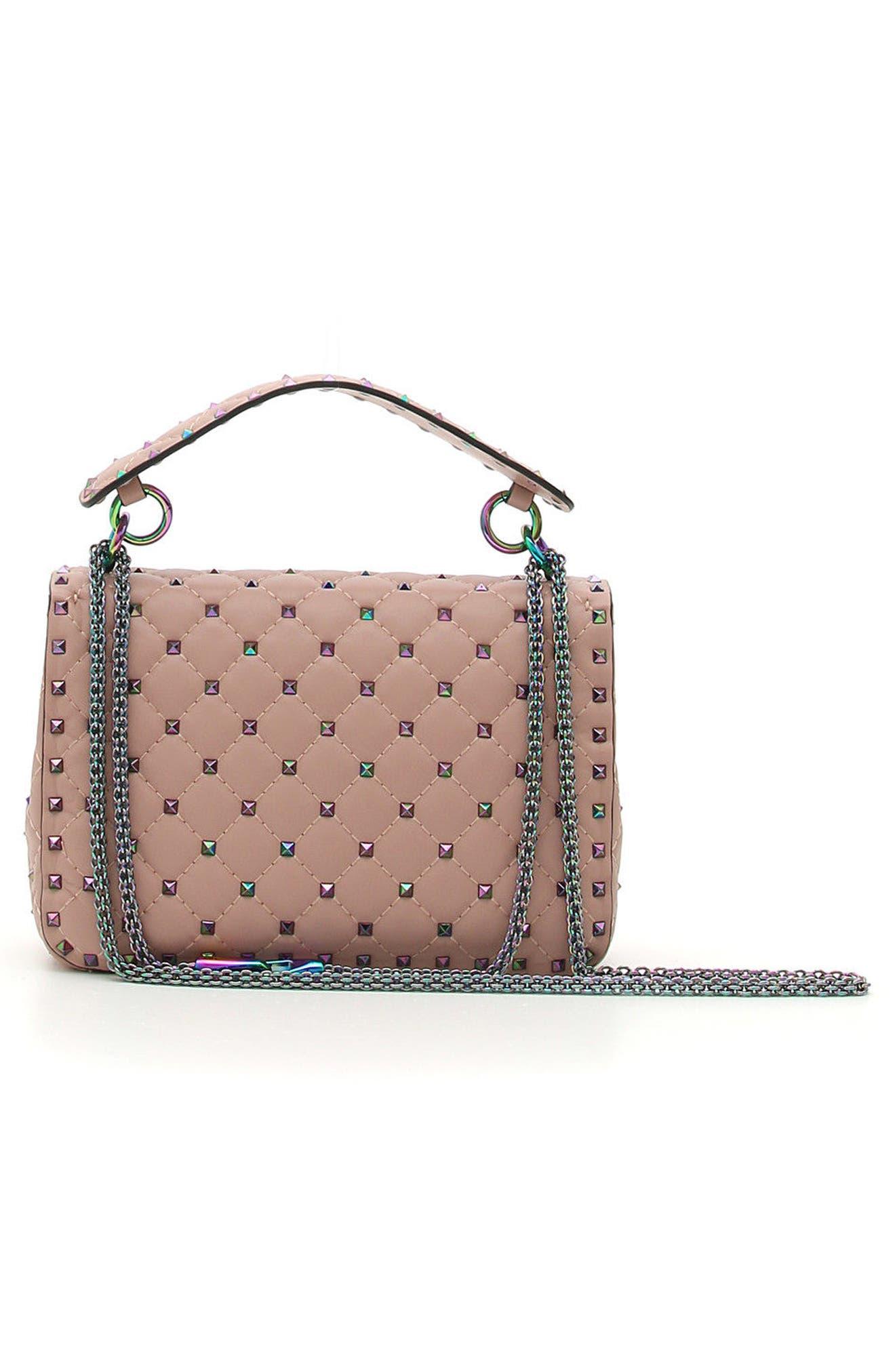 Rockstud Lambskin Leather Shoulder Bag,                             Alternate thumbnail 2, color,                             Dusty Rose