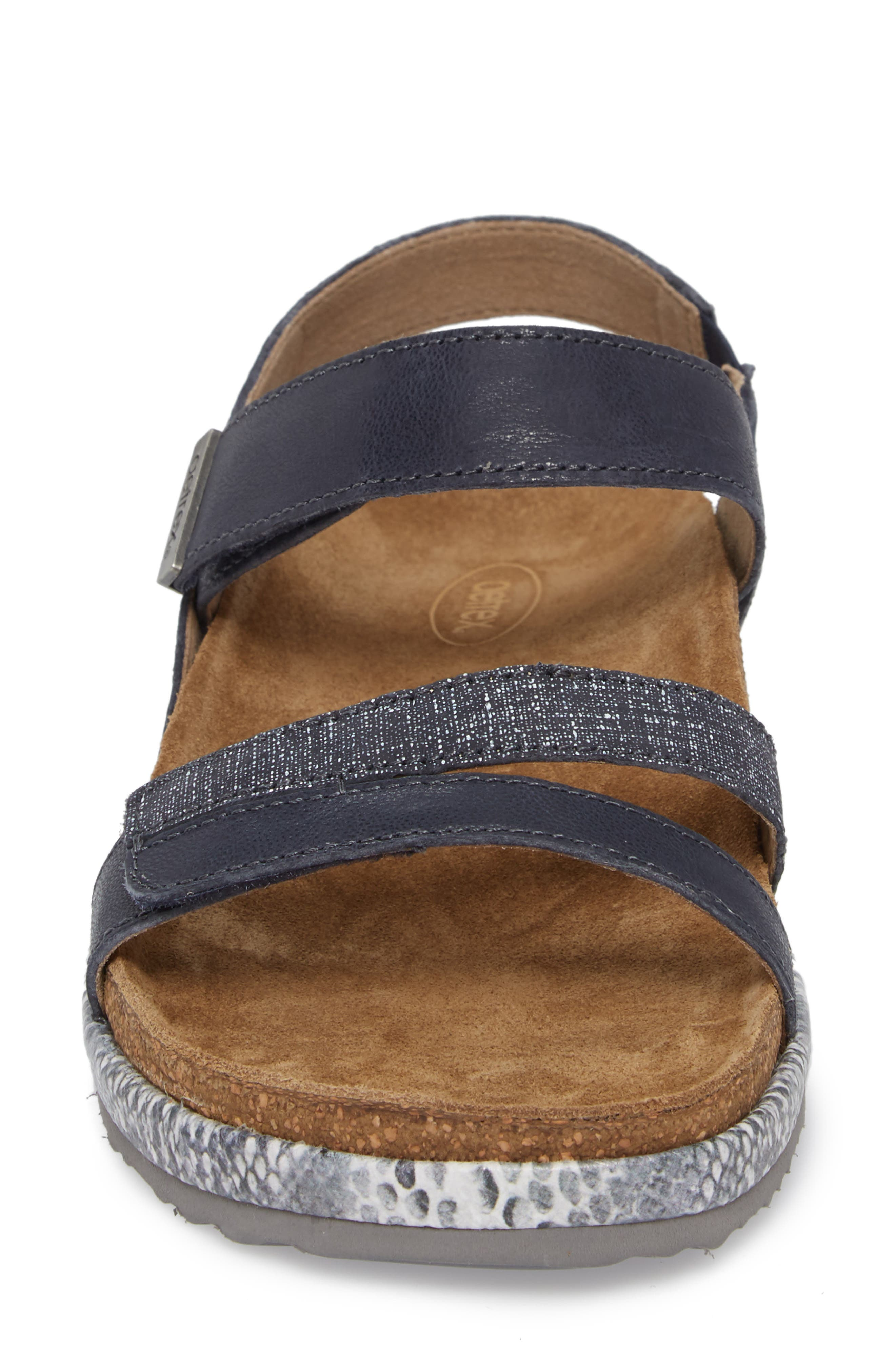 Bethany Sandal,                             Alternate thumbnail 4, color,                             Navy Multi Leather