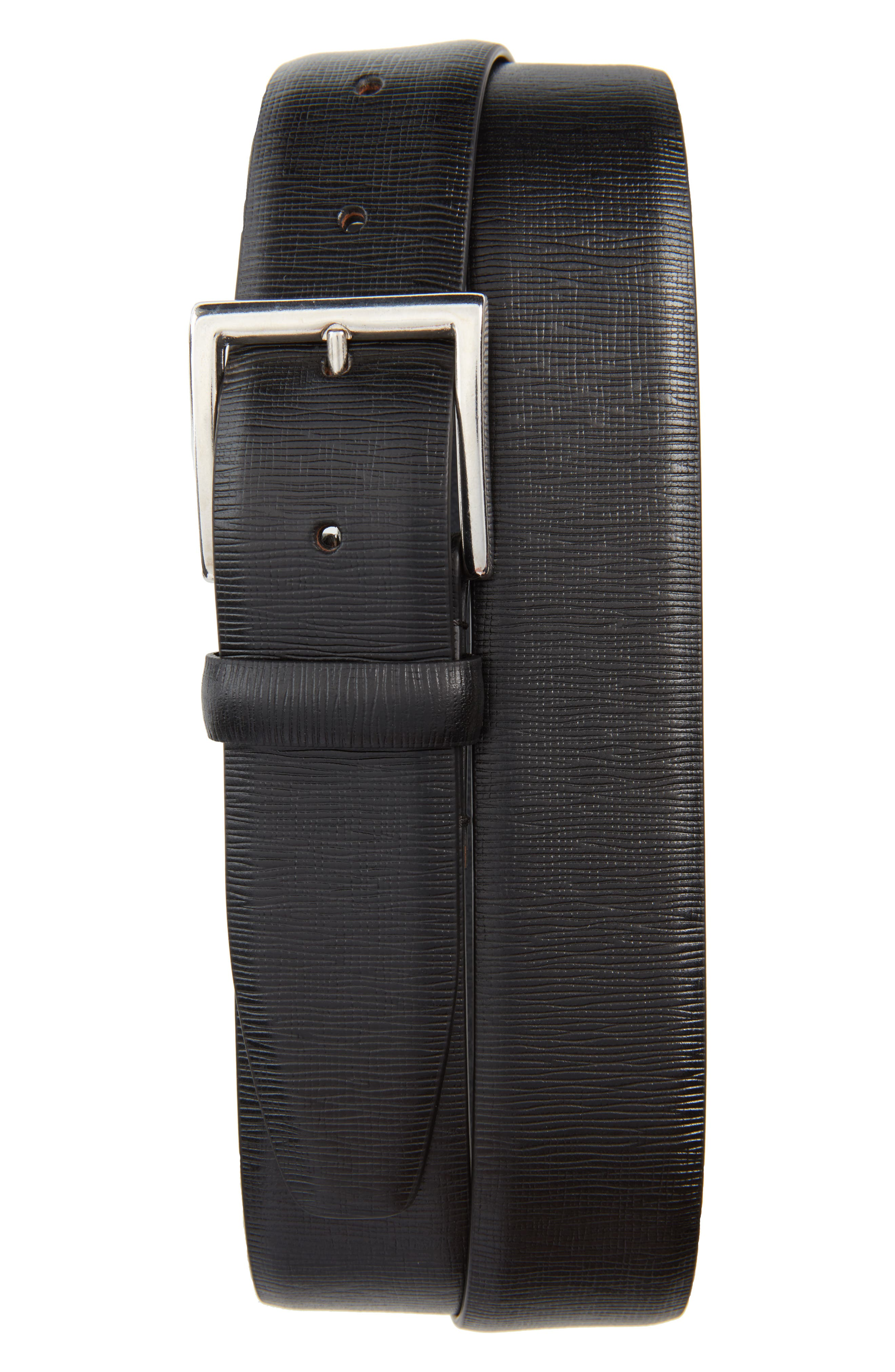 Baywater Avenue Leather Belt,                             Main thumbnail 1, color,                             Nero