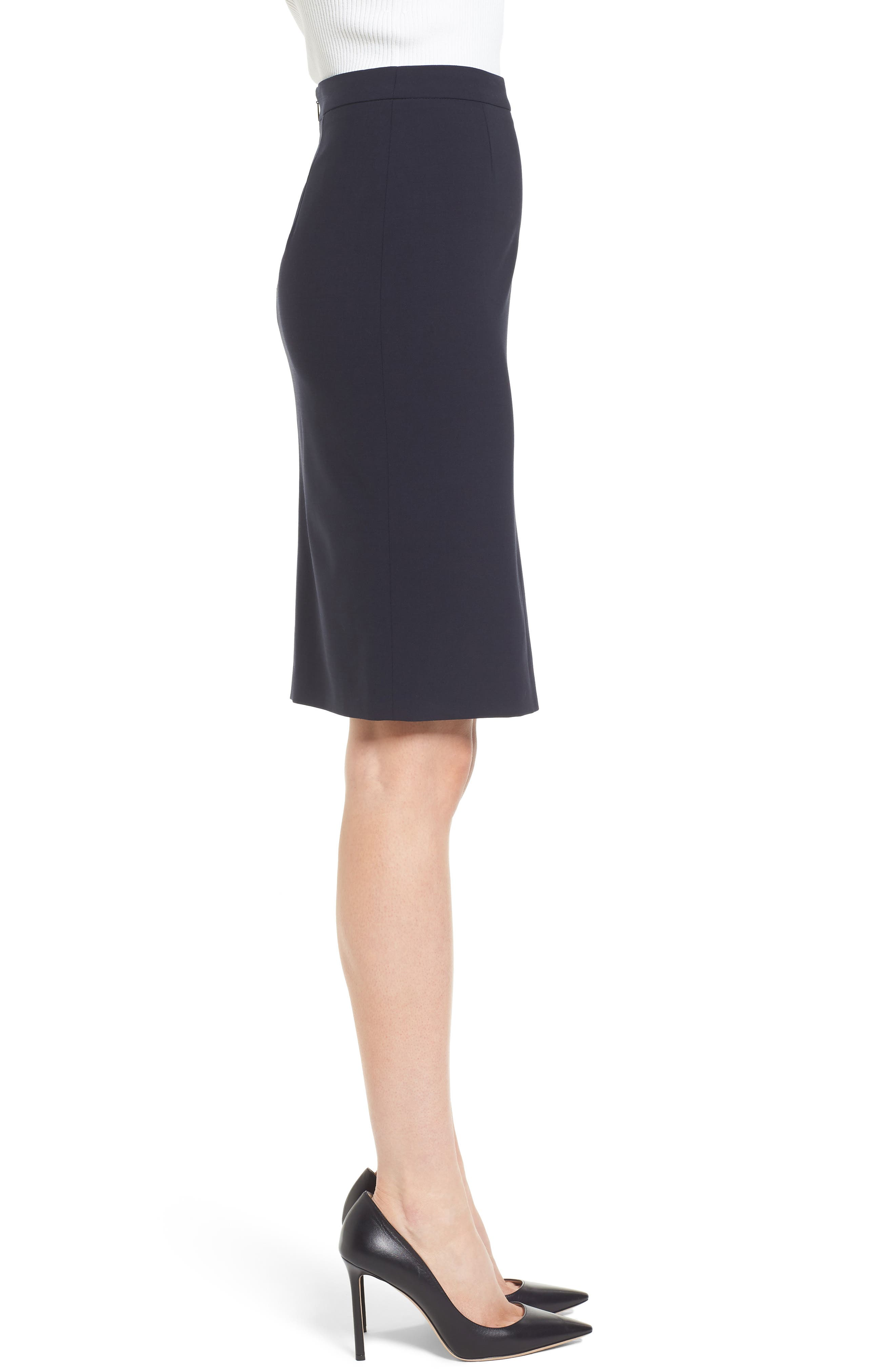 Volania Stretch Wool Side Slit Pencil Skirt,                             Alternate thumbnail 3, color,                             Navy