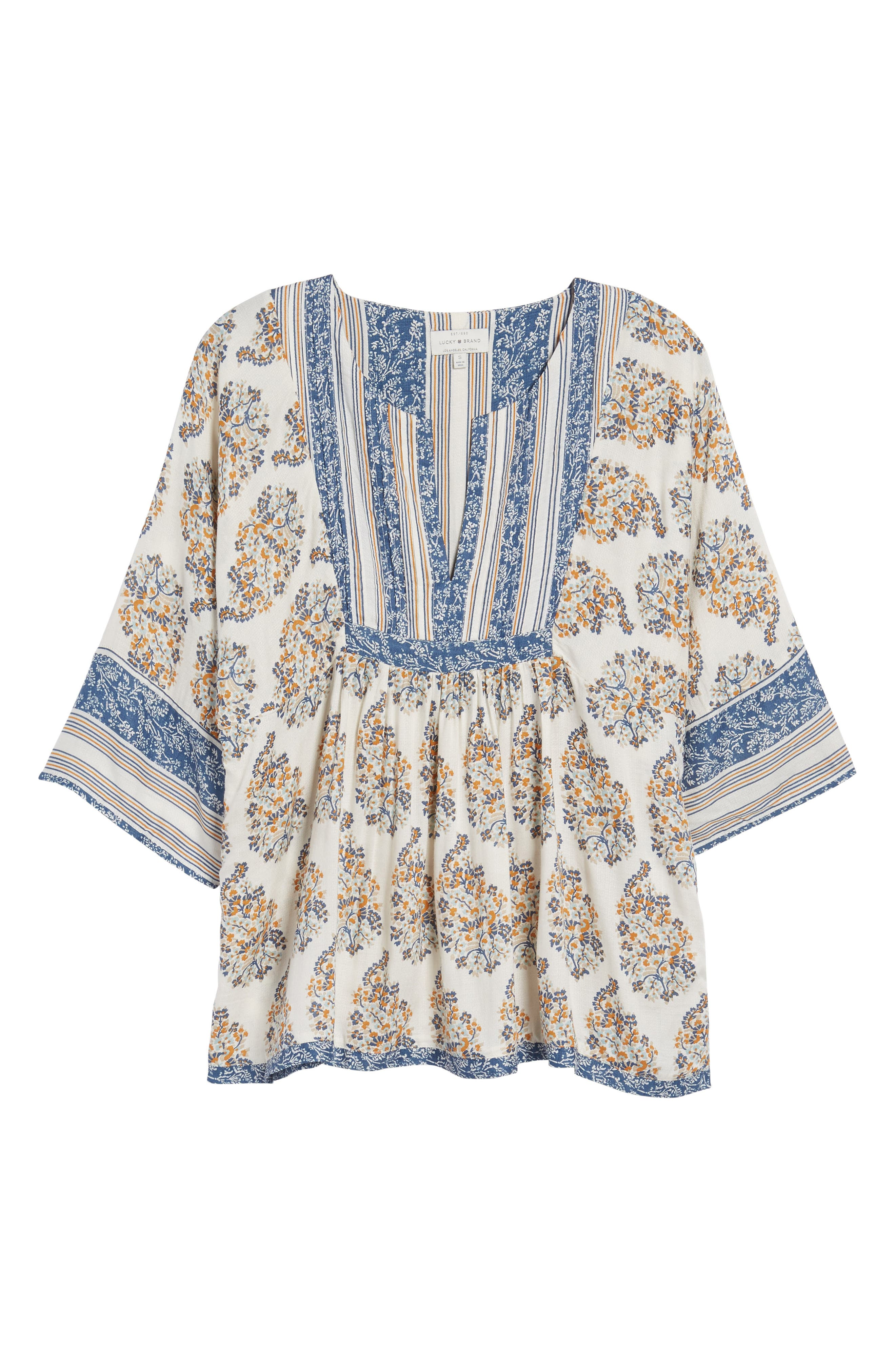 Alternate Image 6  - Lucky Brand Mixed Print Peasant Top