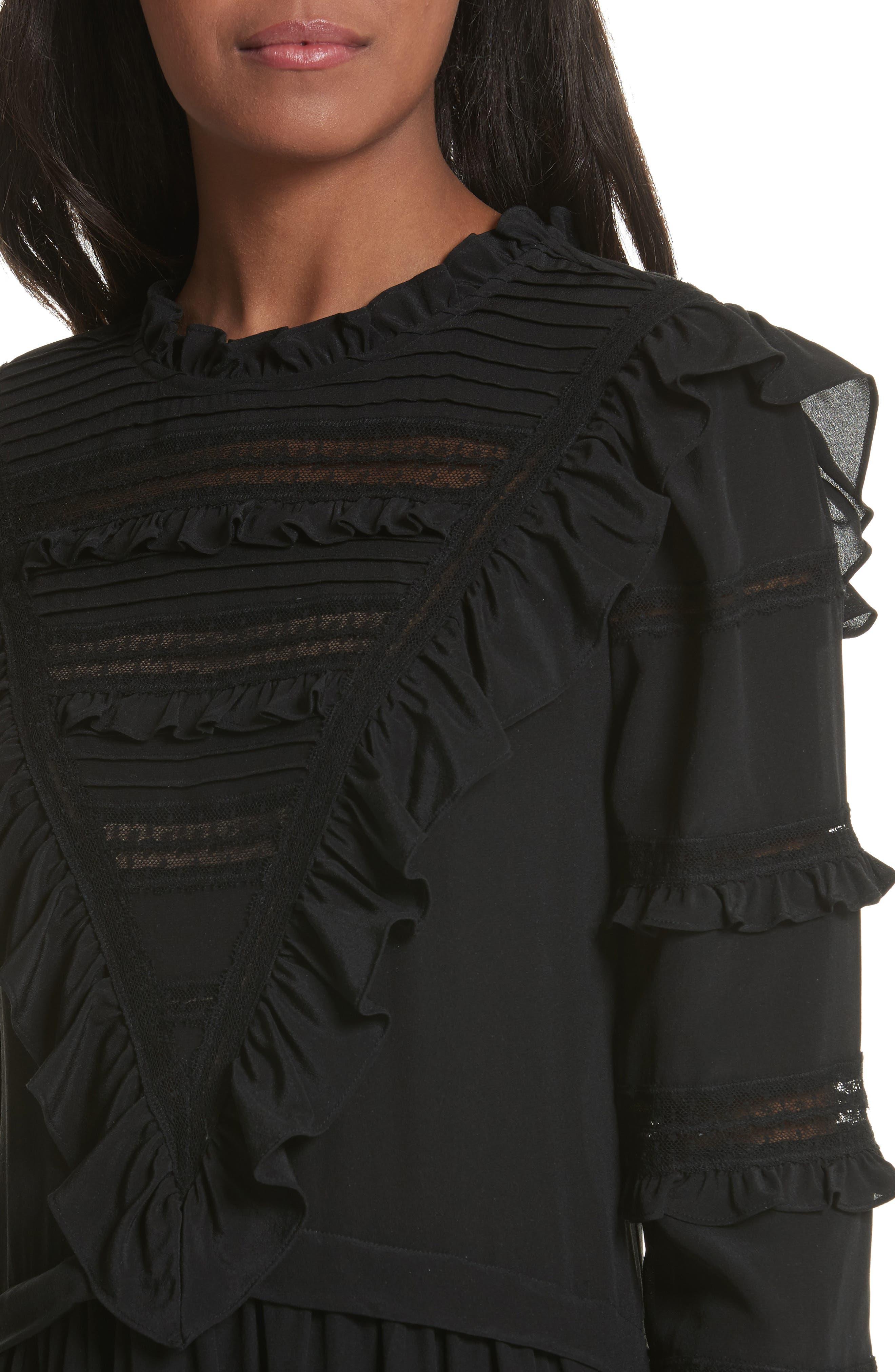 Ruffle Silk Dress,                             Alternate thumbnail 4, color,                             Black