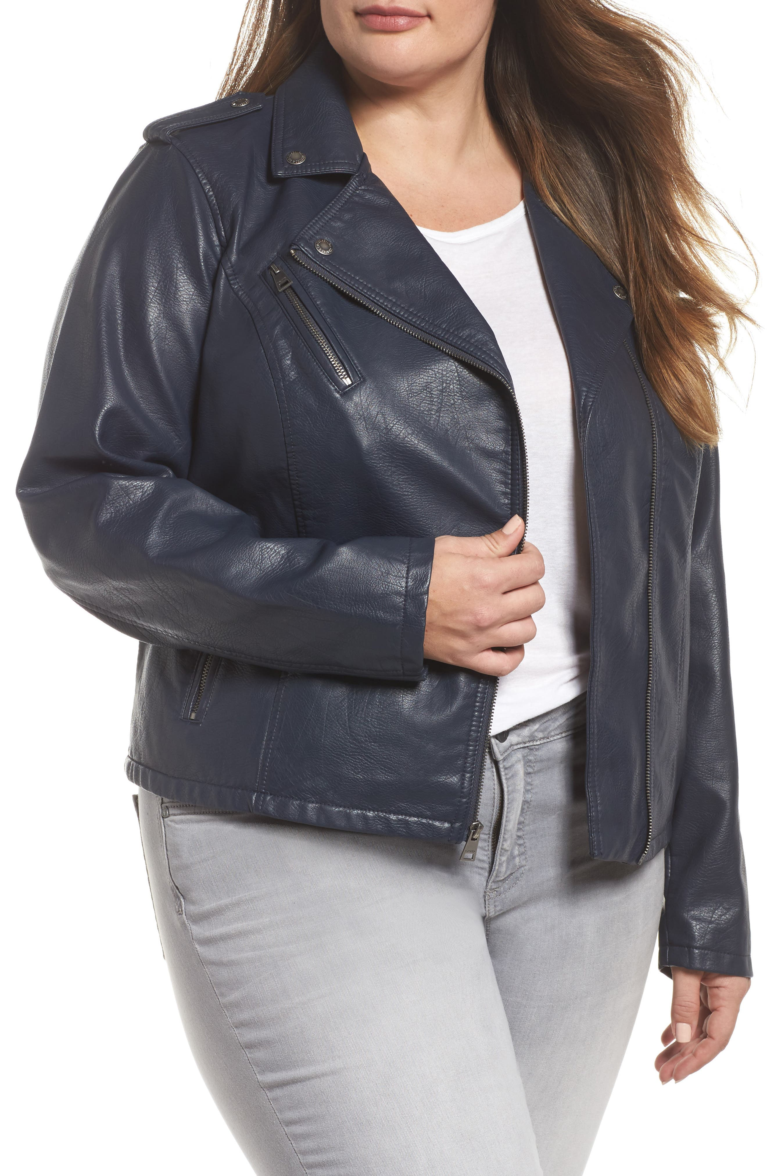 Faux Leather Jacket,                         Main,                         color, Navy