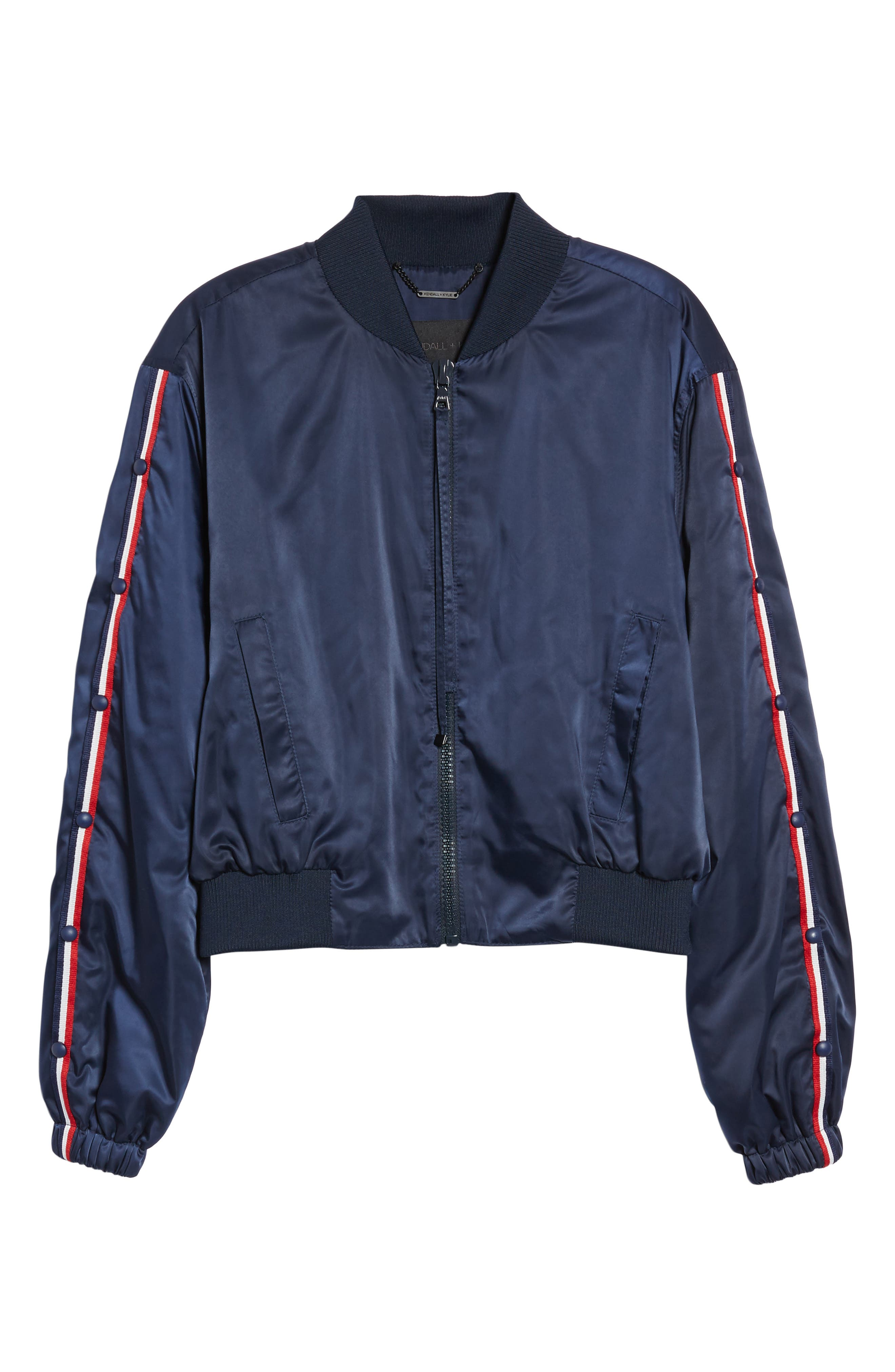 Bomber Jacket,                             Alternate thumbnail 6, color,                             Navy/ Red/ White