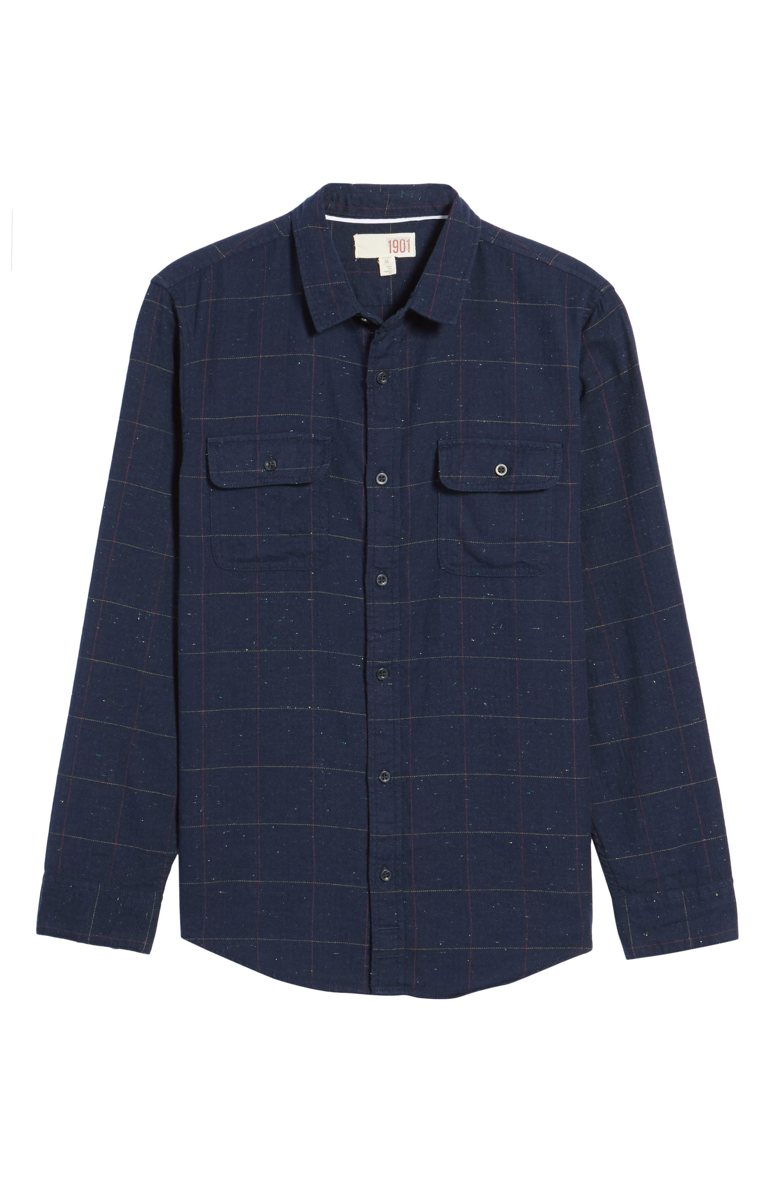 Herringbone Plaid Flannel Shirt,                             Alternate thumbnail 6, color,                             Black - White Nepped Tartan