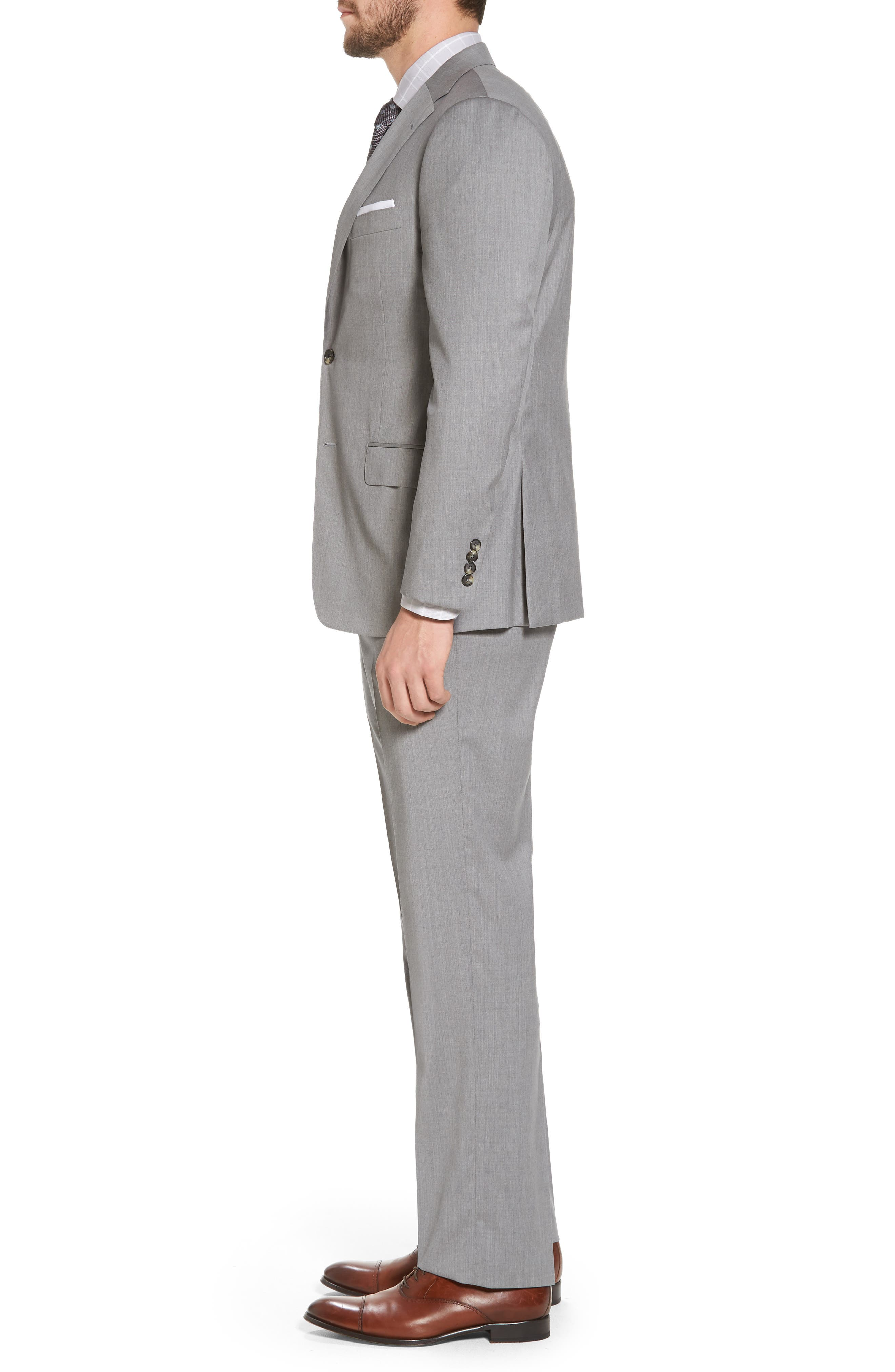 Classic B Fit Solid Wool Suit,                             Alternate thumbnail 3, color,                             Grey