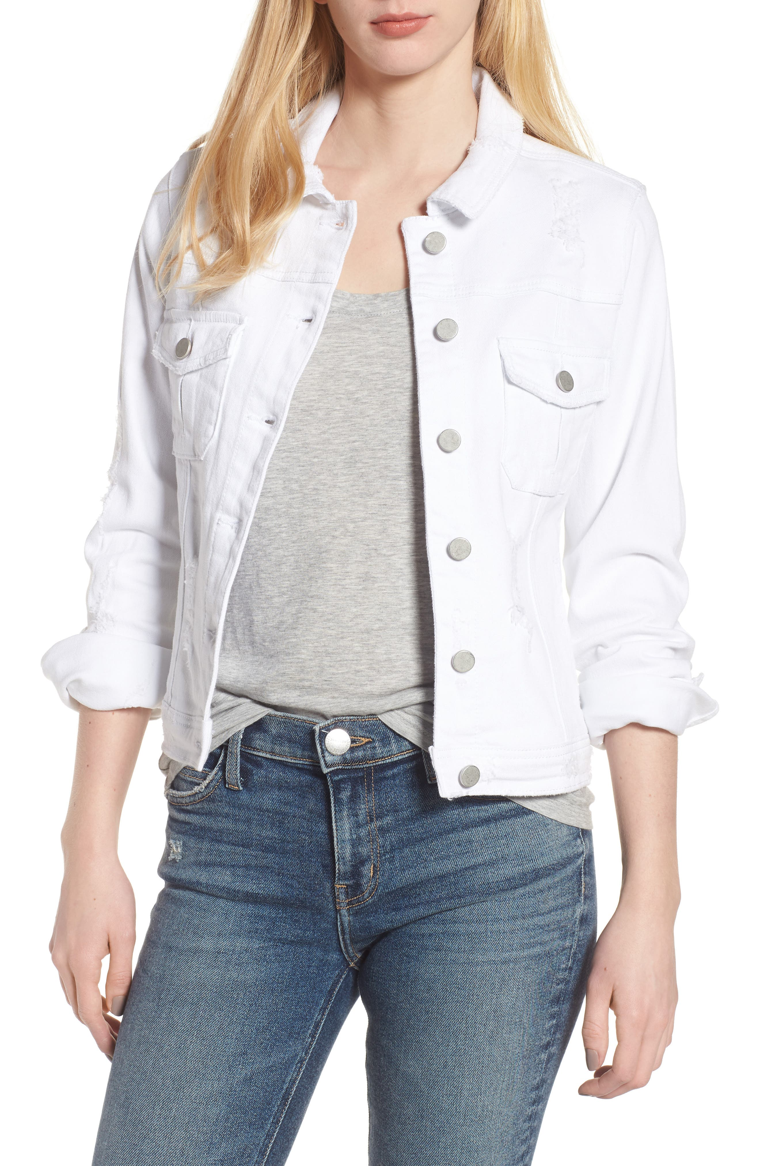 Classic Fit Distressed Denim Jacket,                         Main,                         color, White