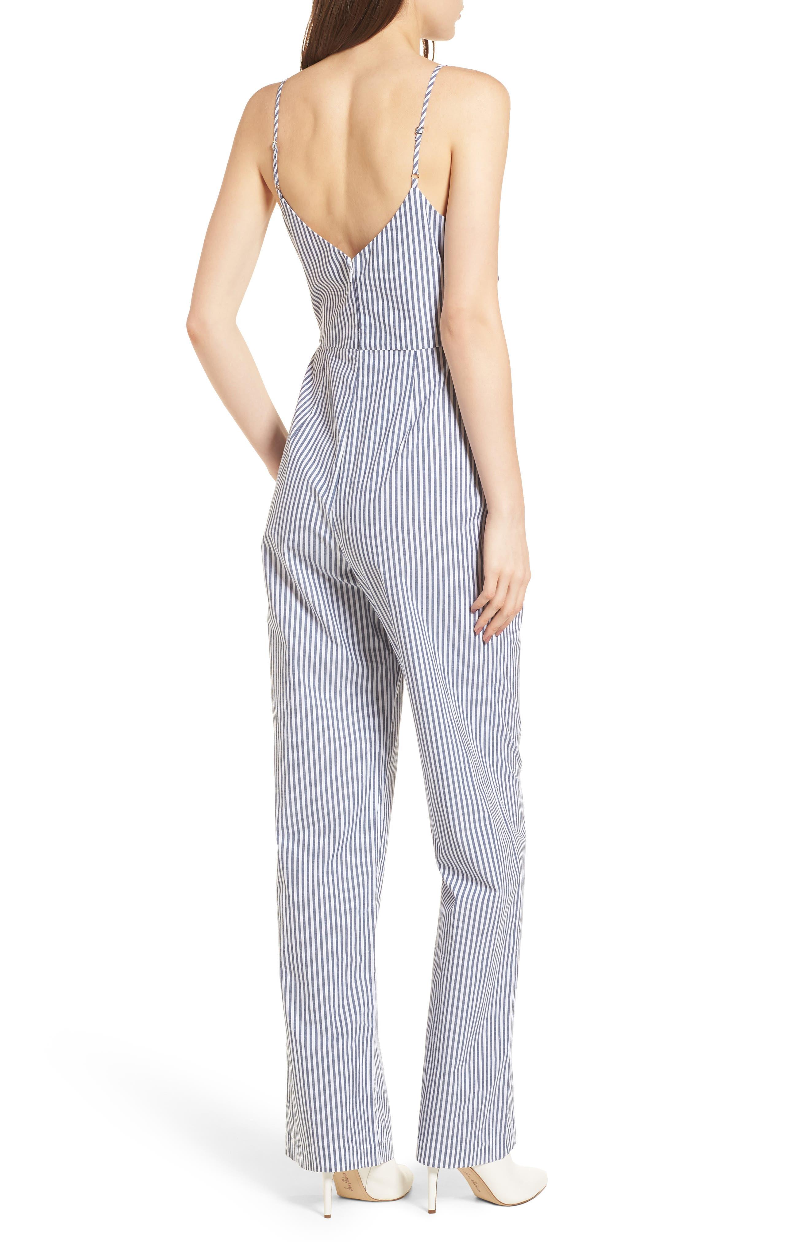 Tie Front Jumpsuit,                             Alternate thumbnail 2, color,                             Blue-White Stripe