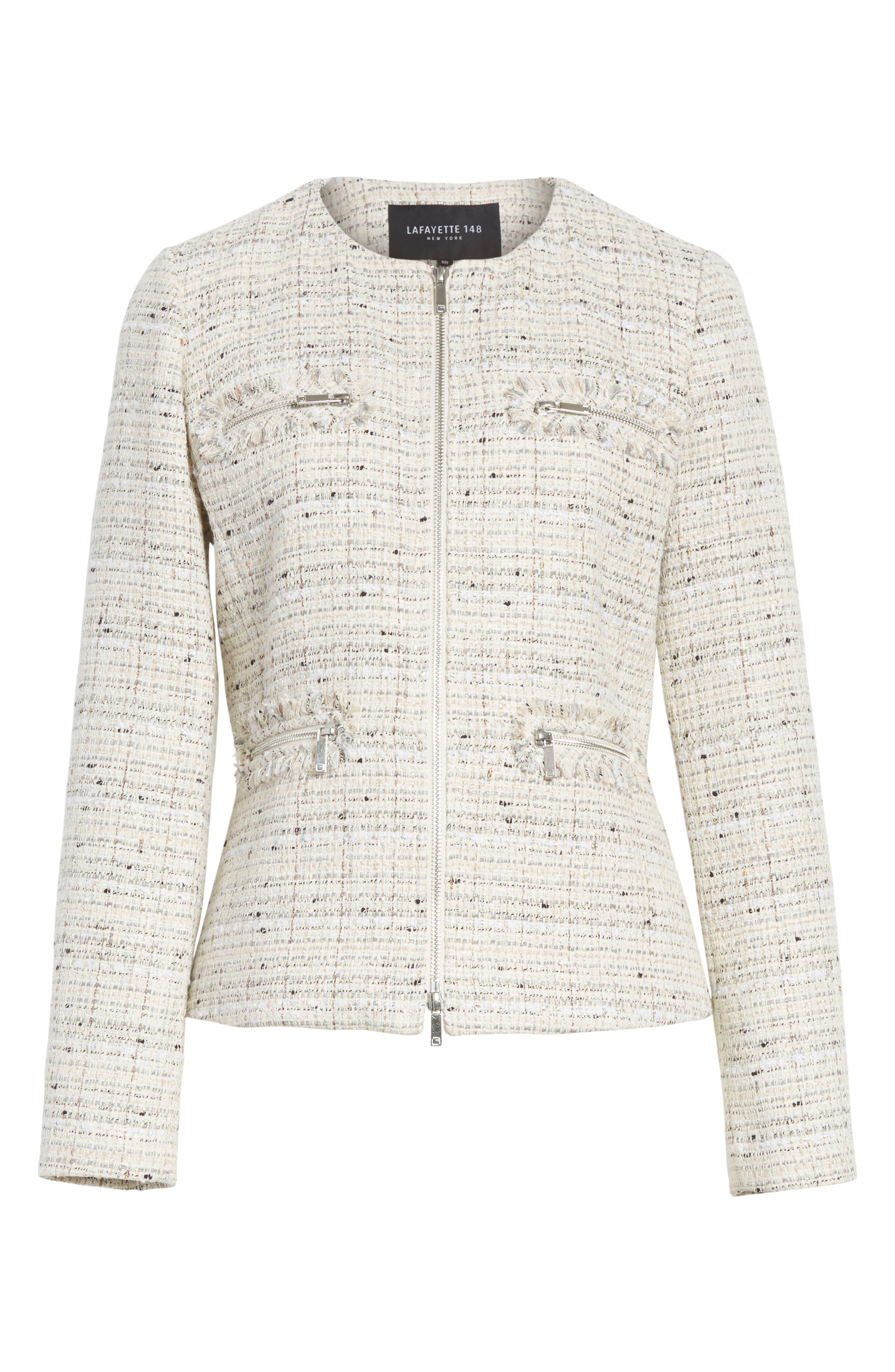 Emelyn Tweed Jacket,                             Alternate thumbnail 7, color,                             Raffia Multi