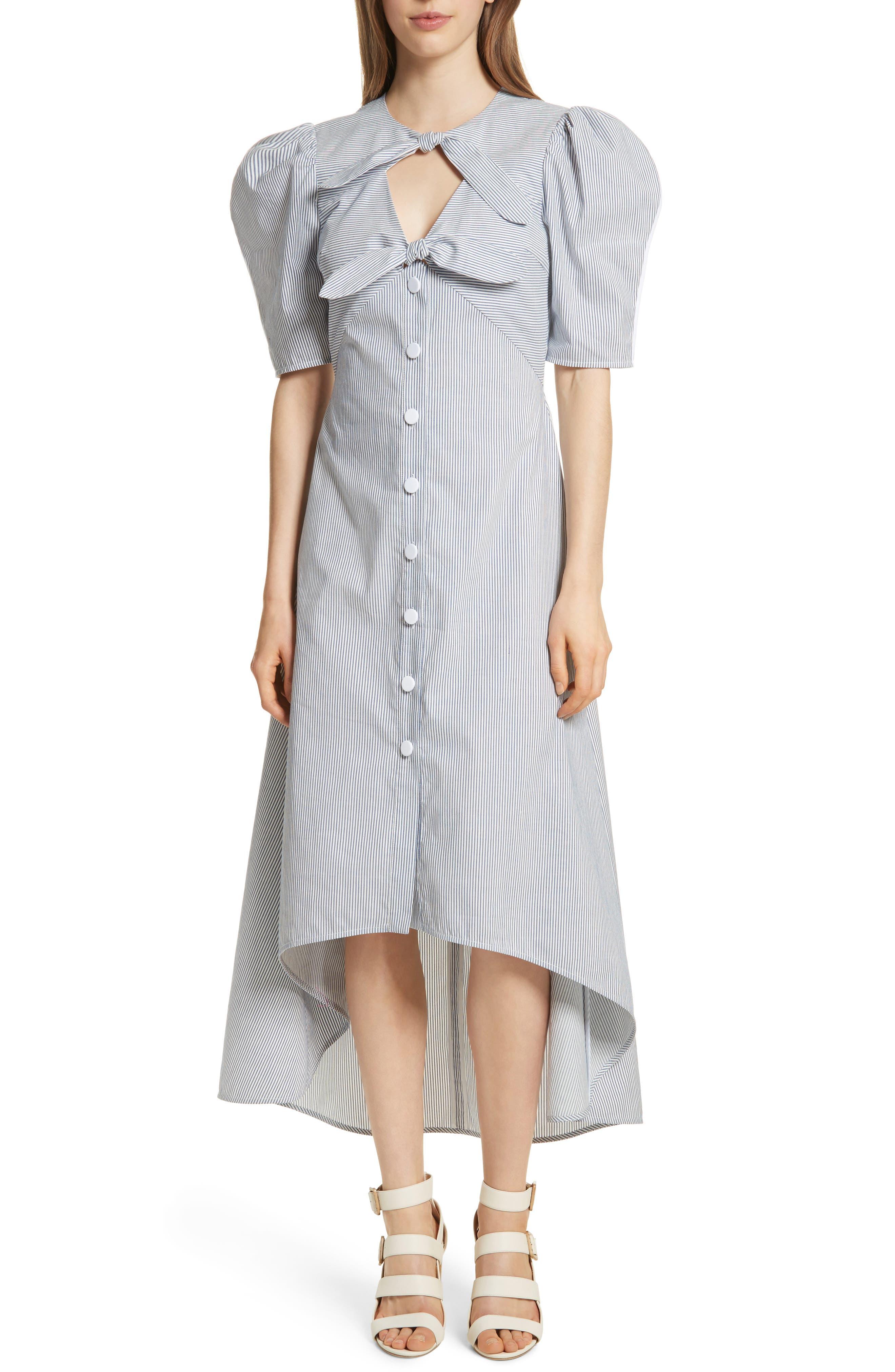 Prose & Poetry Camila Double Front Tie Midi Dress,                         Main,                         color, Canvas Stripe