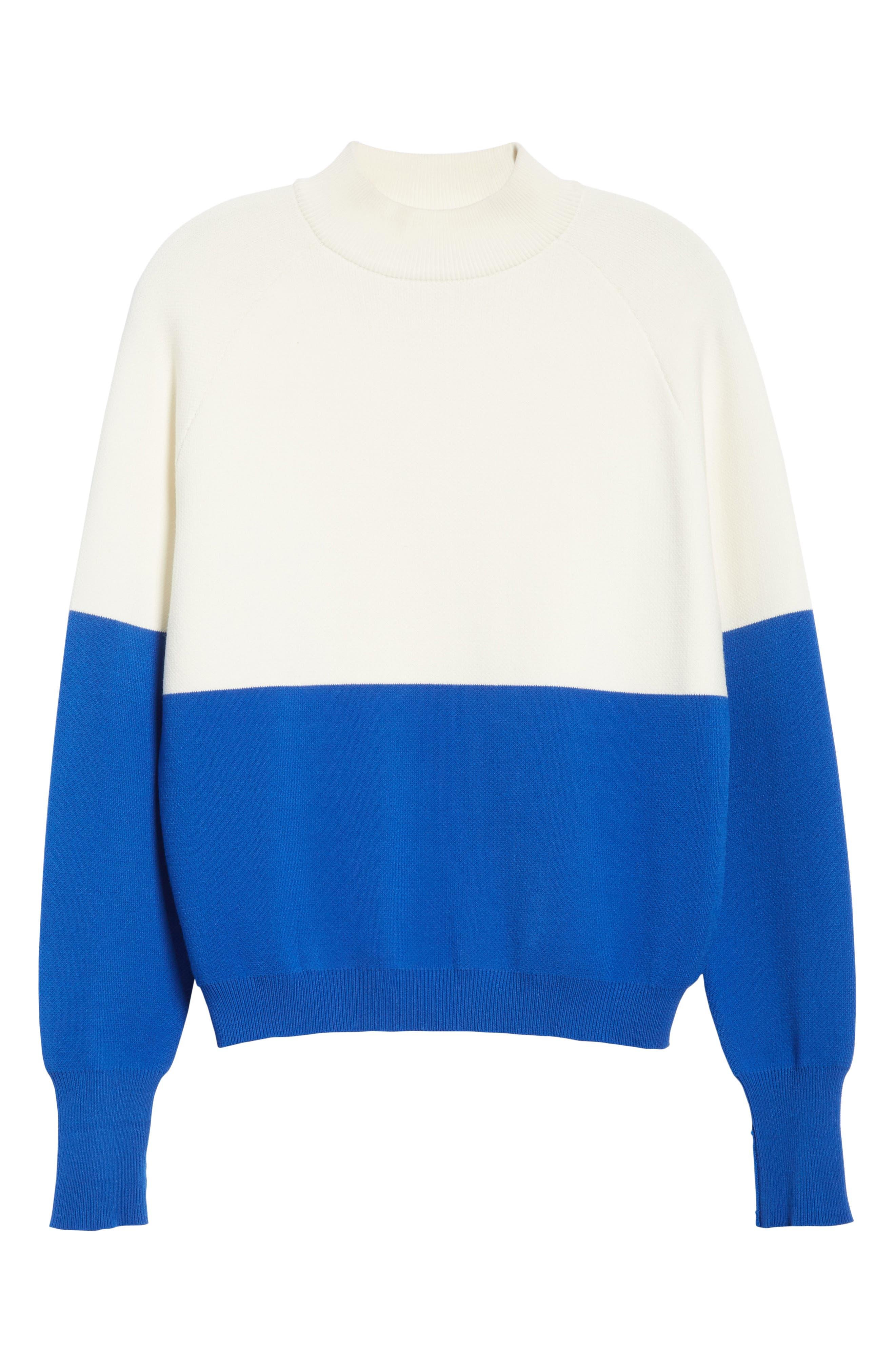 Colorblock Raglan Sweater,                             Alternate thumbnail 7, color,                             Snow White/ Slalom Blue