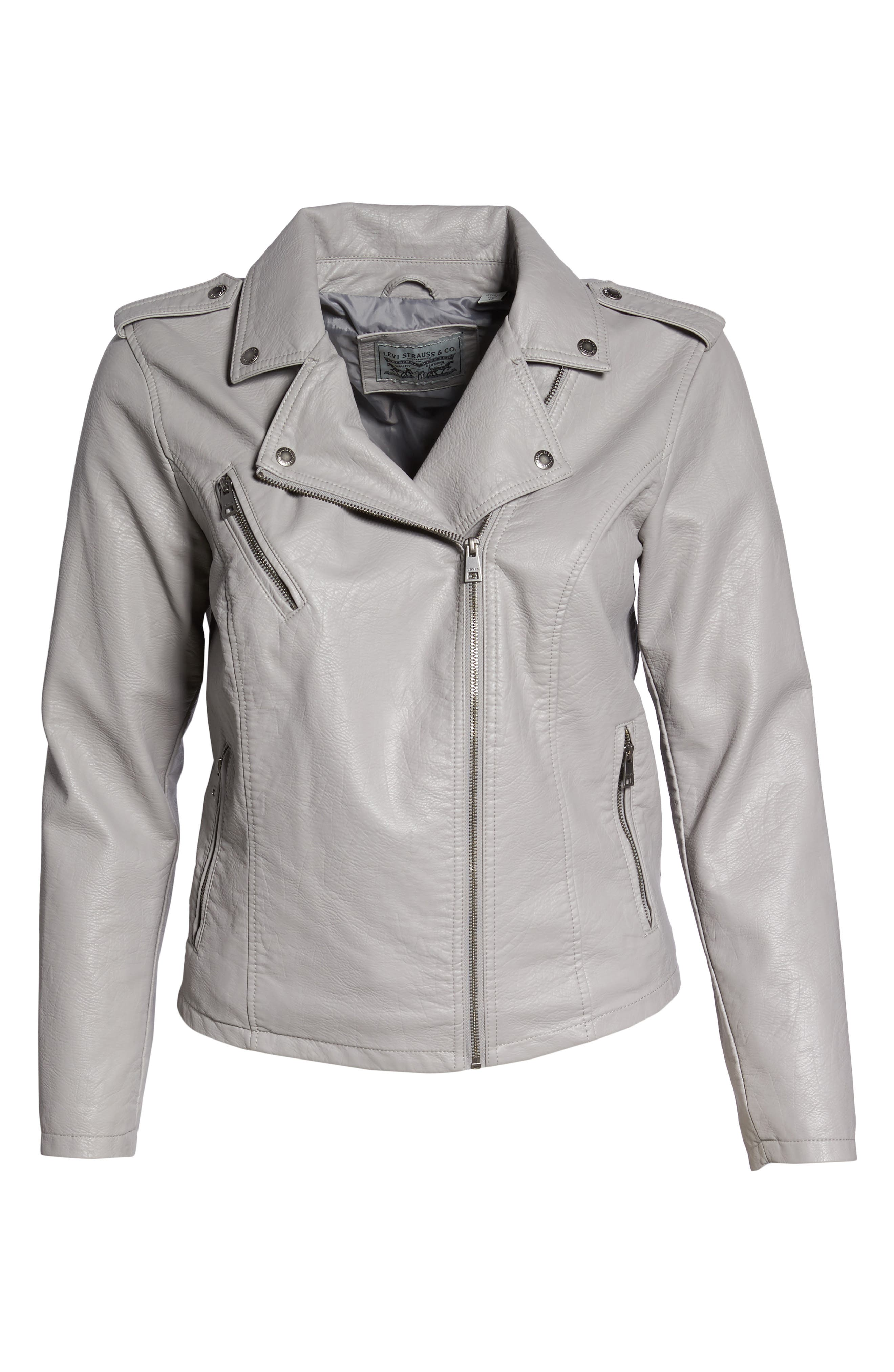 Faux Leather Jacket,                             Alternate thumbnail 2, color,                             Grey