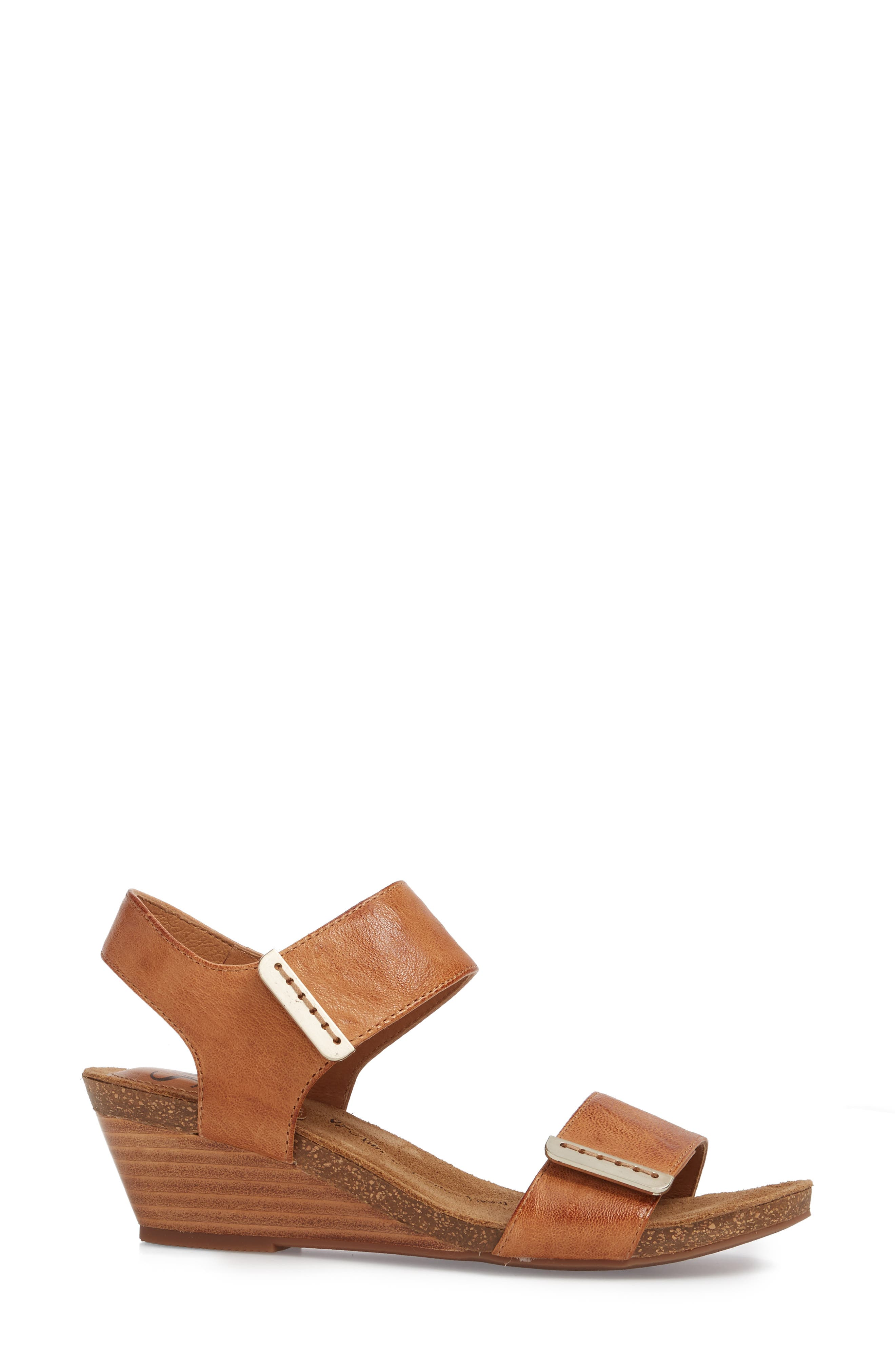 Verdi Wedge Sandal,                             Alternate thumbnail 3, color,                             Luggage Leather