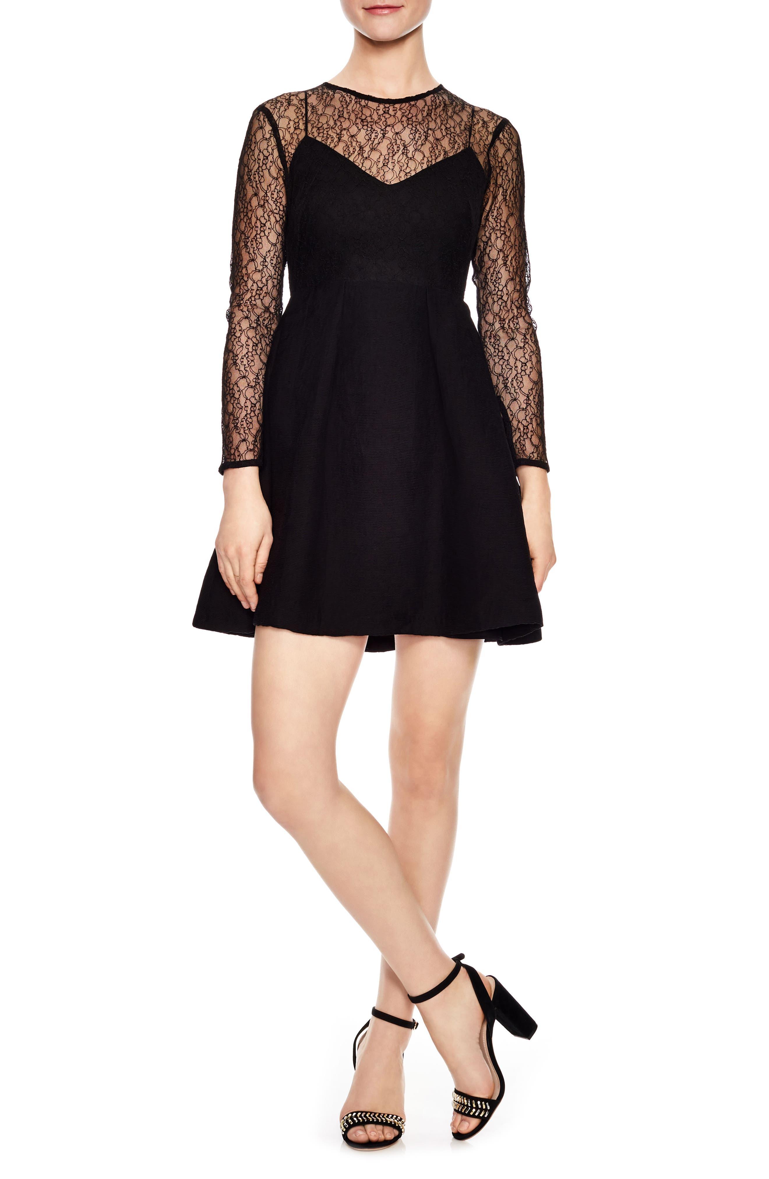 Noir Illusion Lace Mini Dress,                             Main thumbnail 1, color,                             Black