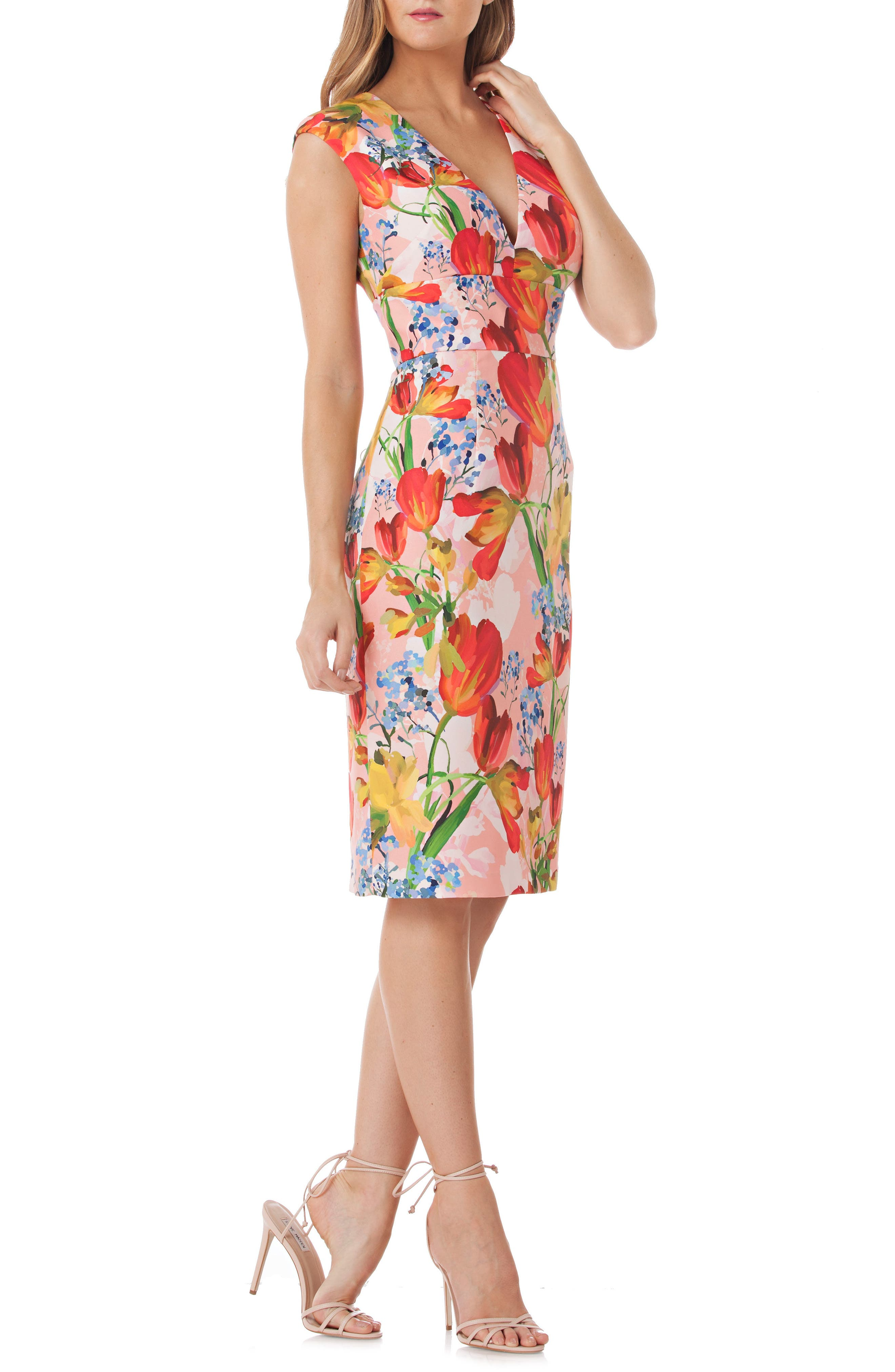 Floral Sheath Dress,                             Main thumbnail 1, color,                             Coral