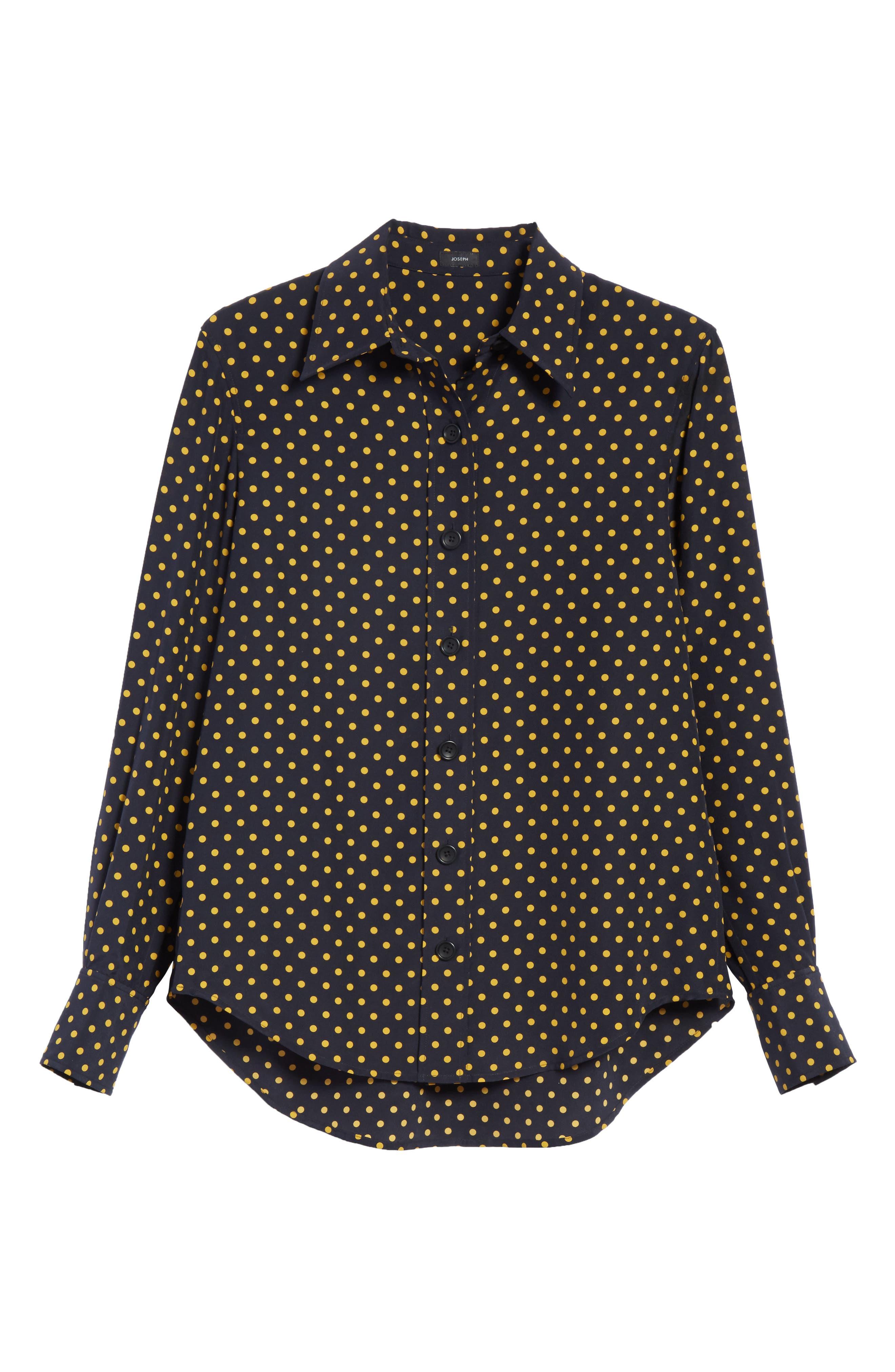 Garcon-Laura Dotted Silk Shirt,                             Alternate thumbnail 6, color,                             Navy
