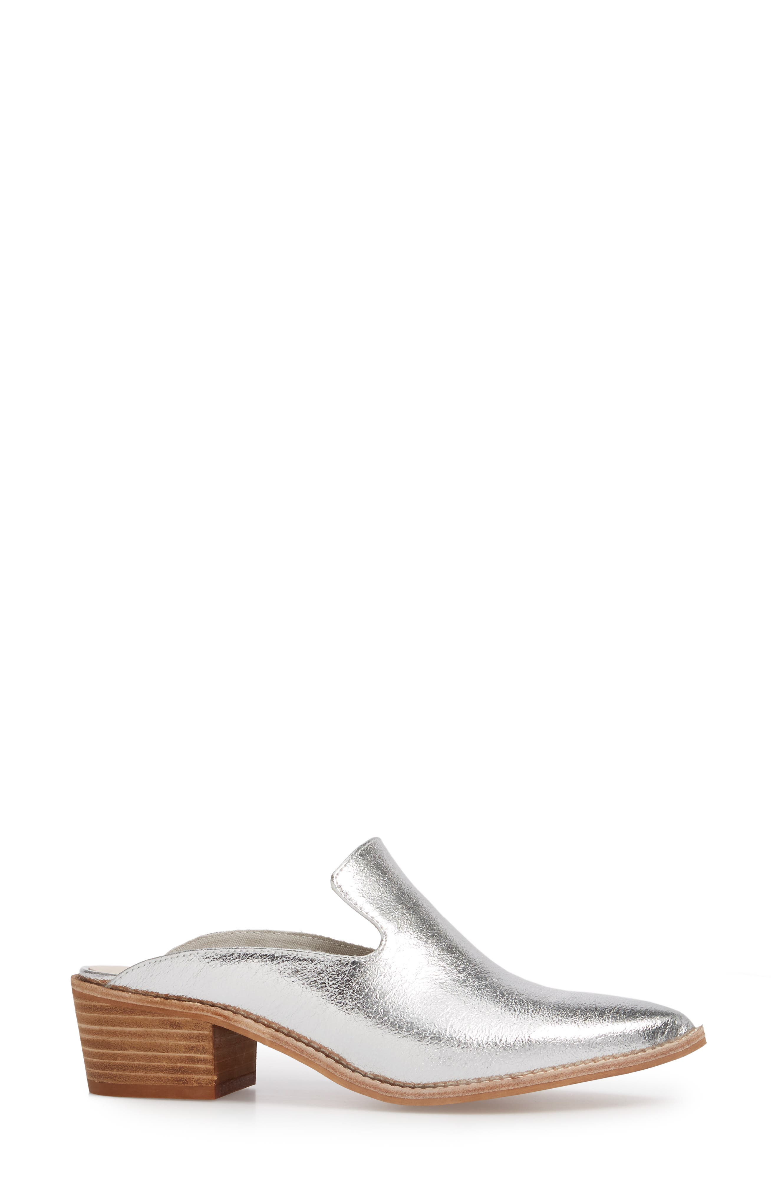 Marnie Loafer Mule,                             Alternate thumbnail 3, color,                             Silver
