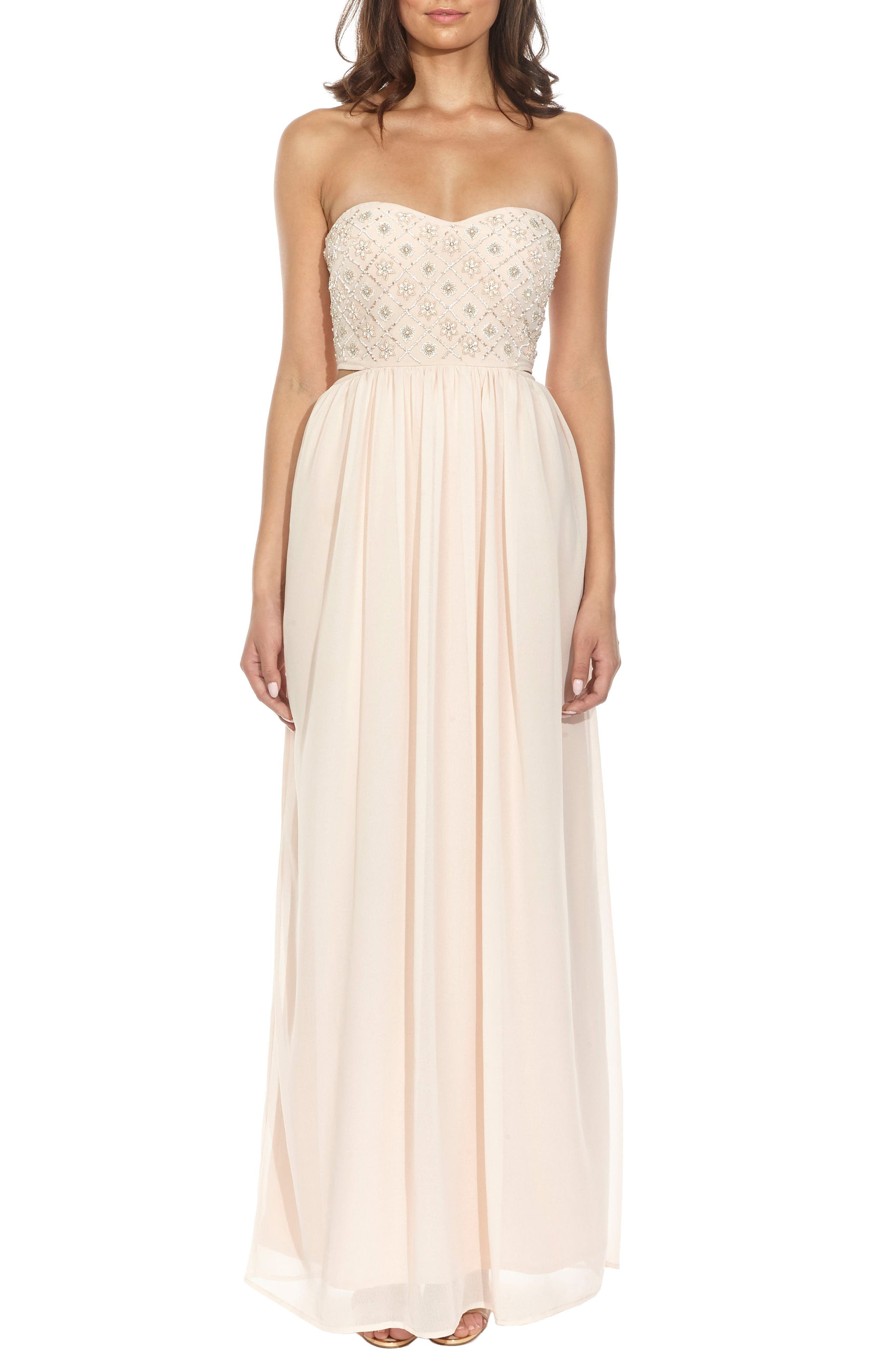 Beaded Bodice Gown,                         Main,                         color, Nude