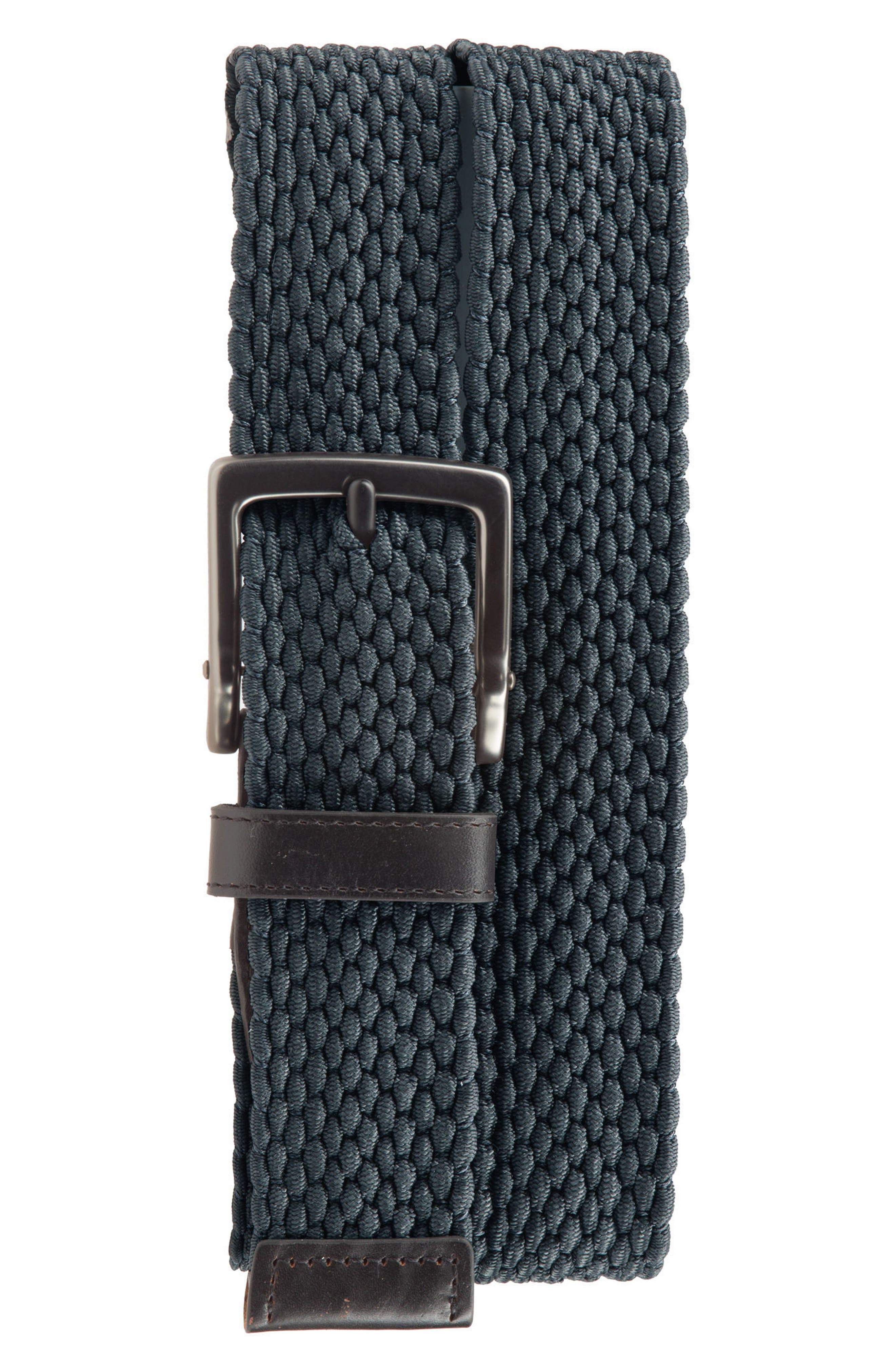 Nike Men'S Stretch Woven Leather-Trim Belt, Navy, Armory Navy