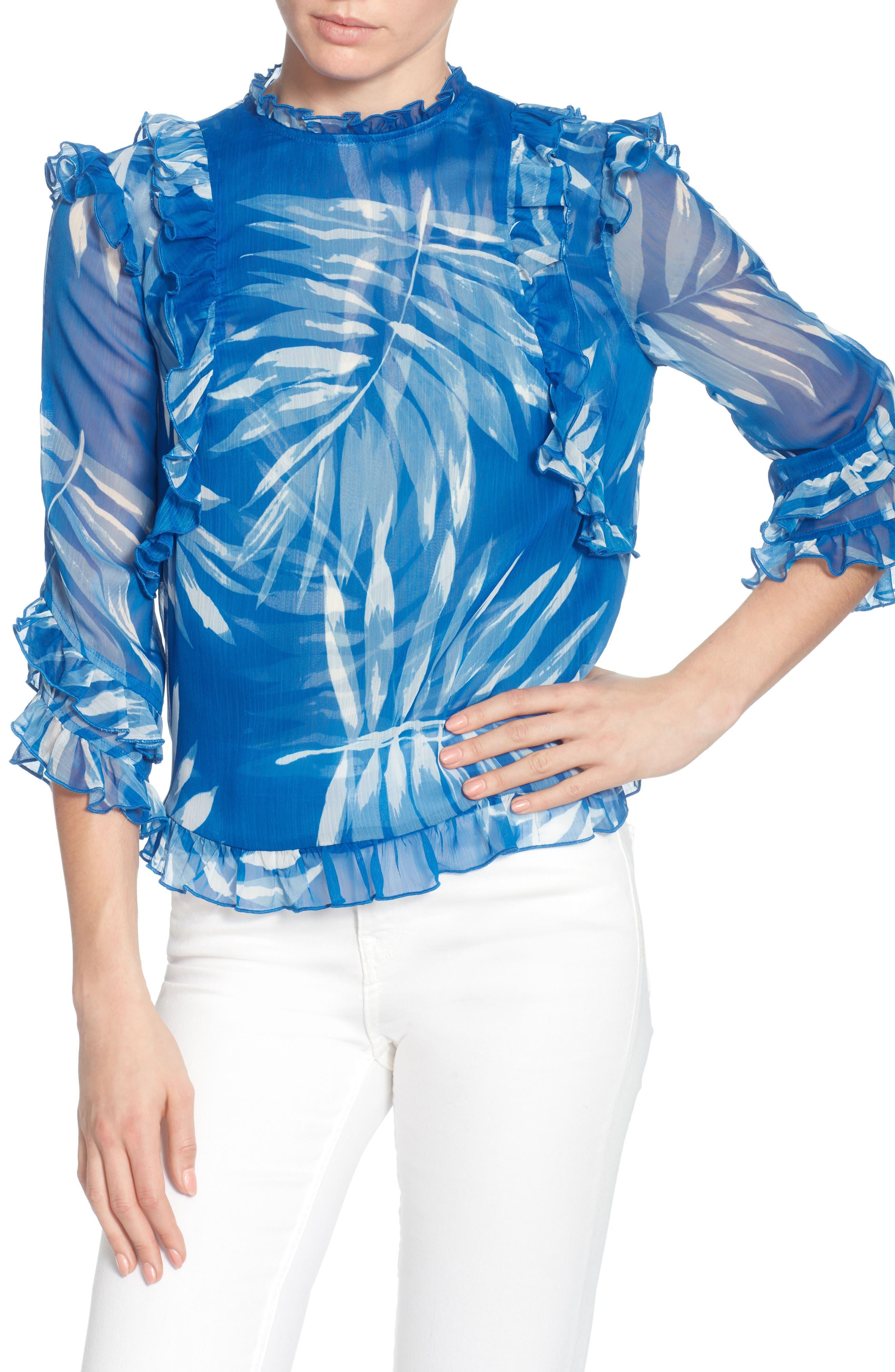 Fernanda Ruffled Chiffon Top,                         Main,                         color, Victoria Palm