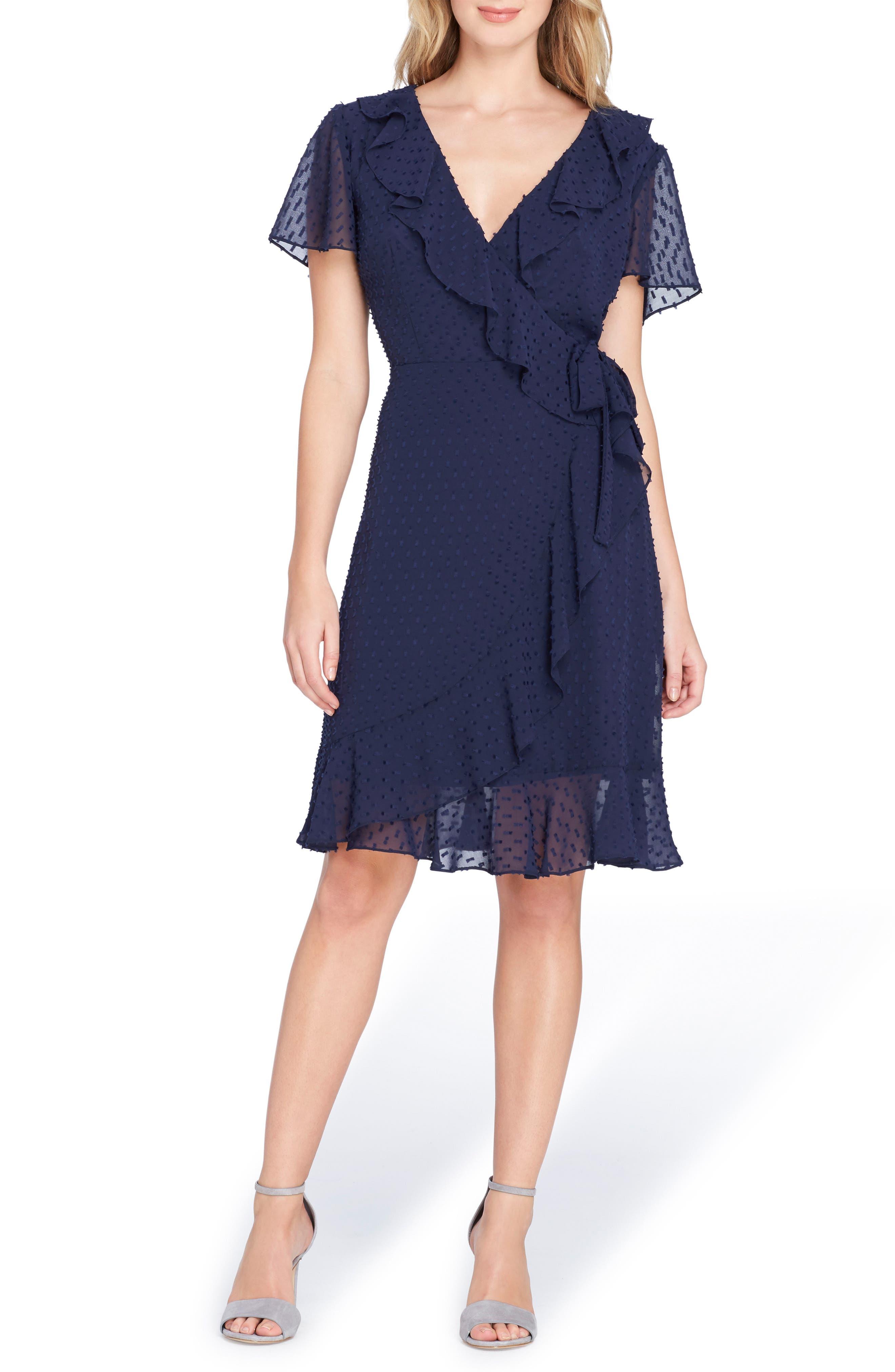 Swiss Dot Chiffon Dress,                         Main,                         color, Navy