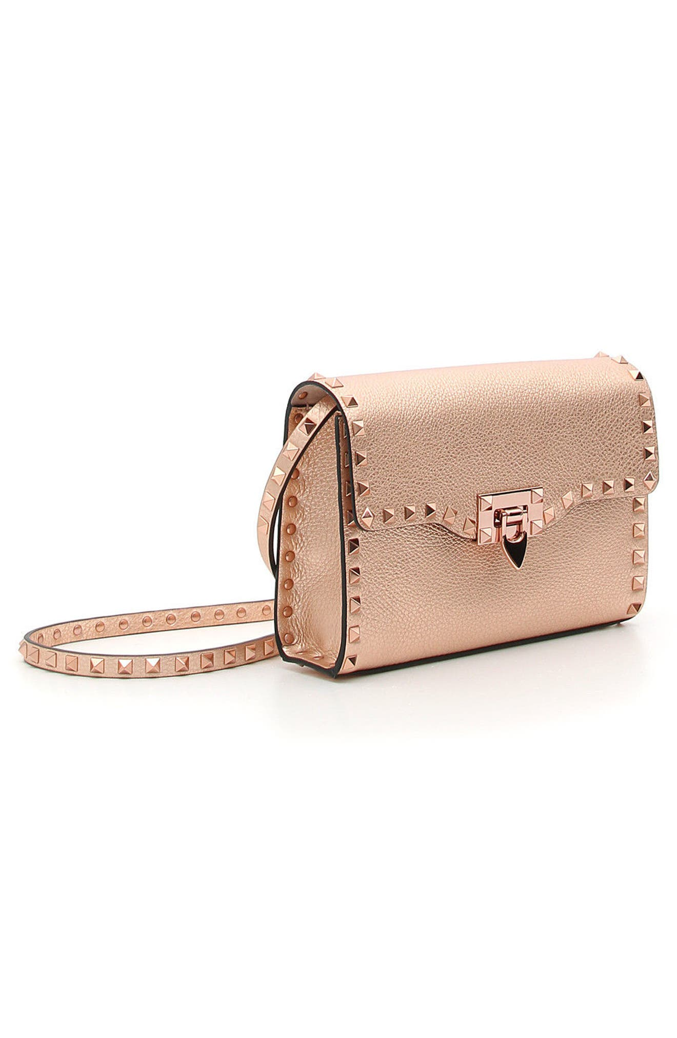 Rockstud Medium Metallic Leather Shoulder Bag,                             Alternate thumbnail 3, color,                             Rosegold