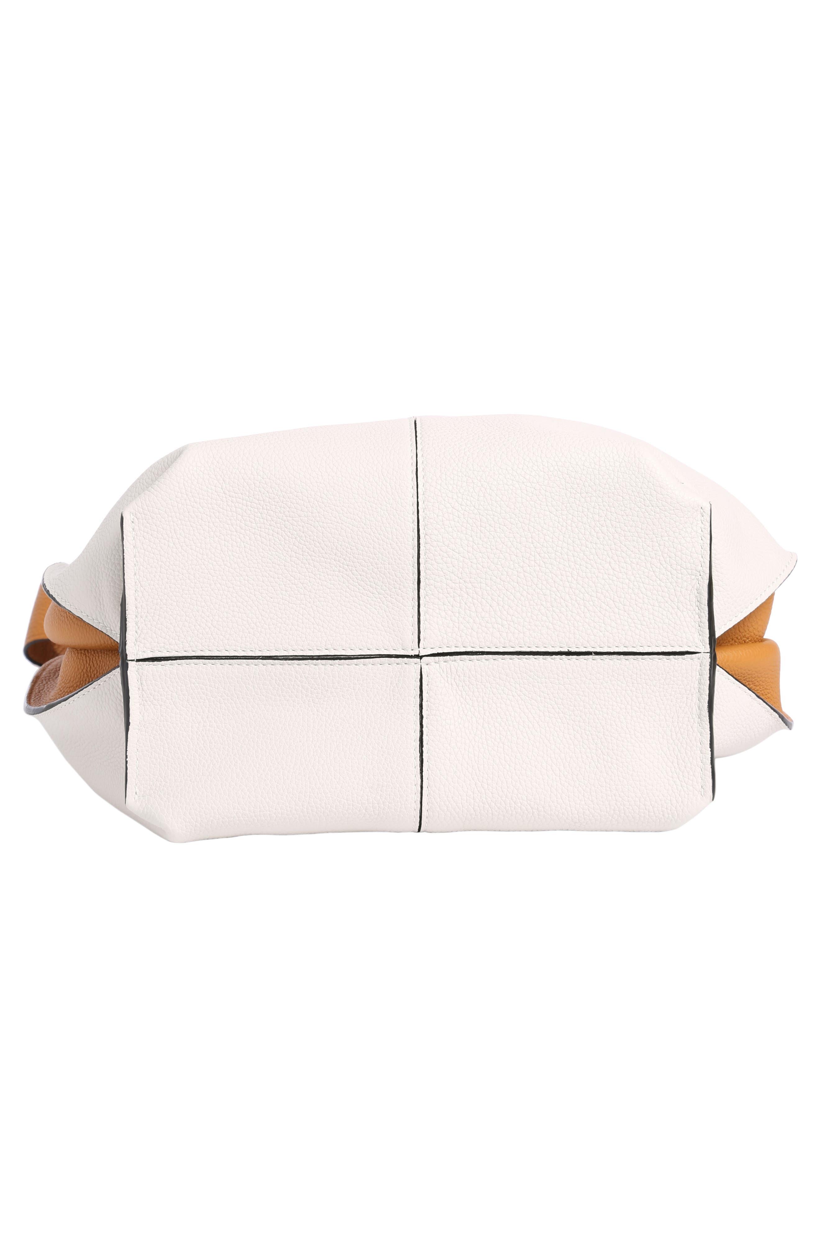 Leather Hobo Tote Bag,                             Alternate thumbnail 4, color,                             Soft White/ Amber