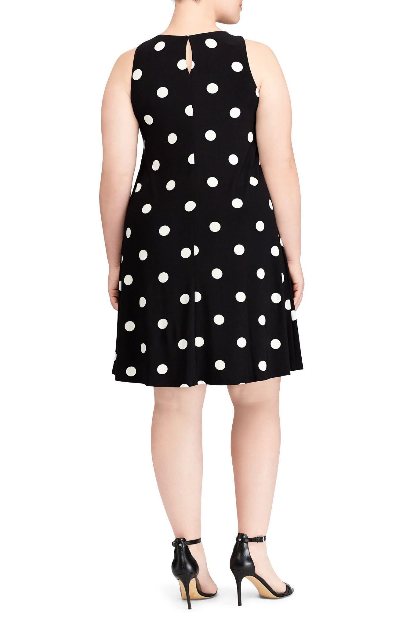 Suzan Peninsula Dot Shift Dress,                             Alternate thumbnail 2, color,                             Black-Colonial Cream