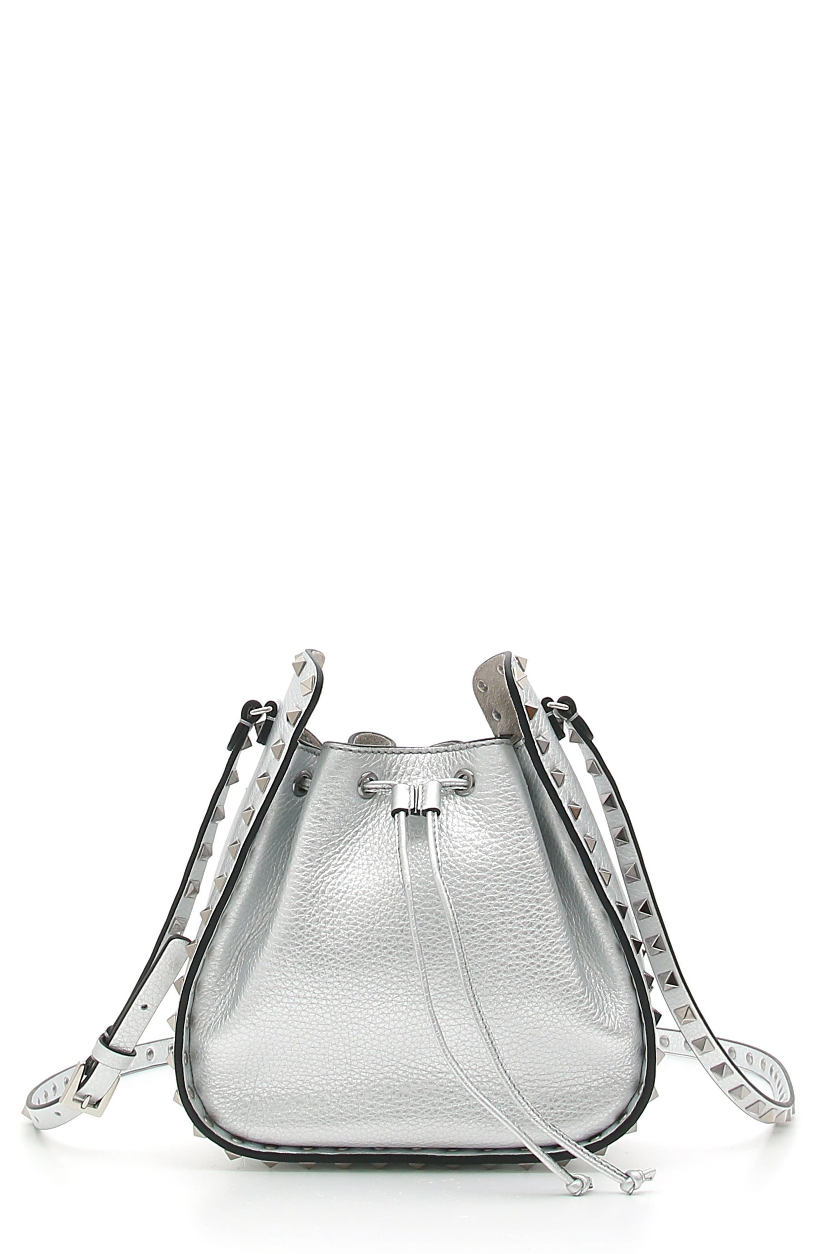 Rockstud Metallic Leather Bucket Bag,                             Main thumbnail 1, color,                             Silver